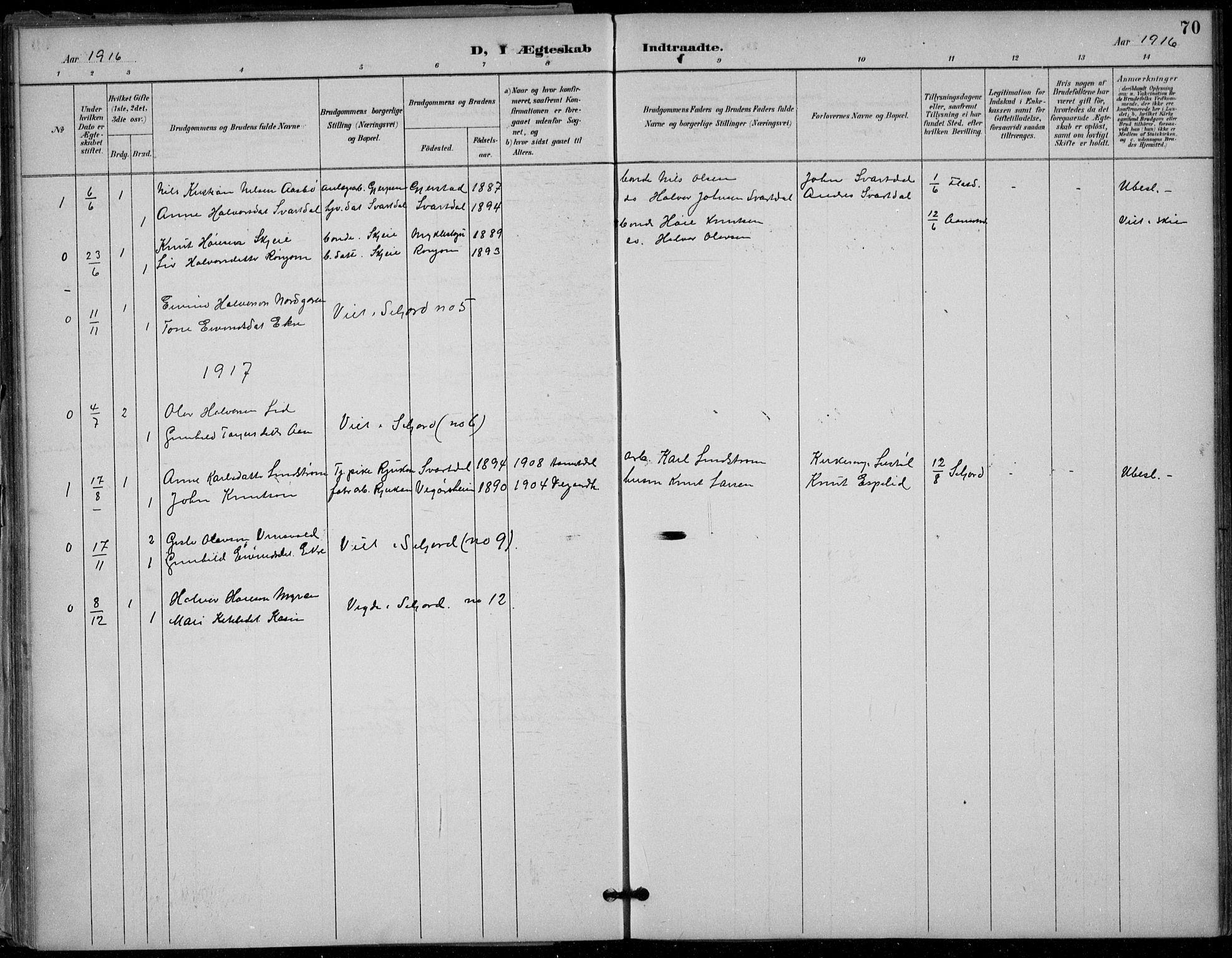 SAKO, Seljord kirkebøker, F/Fb/L0002: Ministerialbok nr. II 2, 1887-1917, s. 70