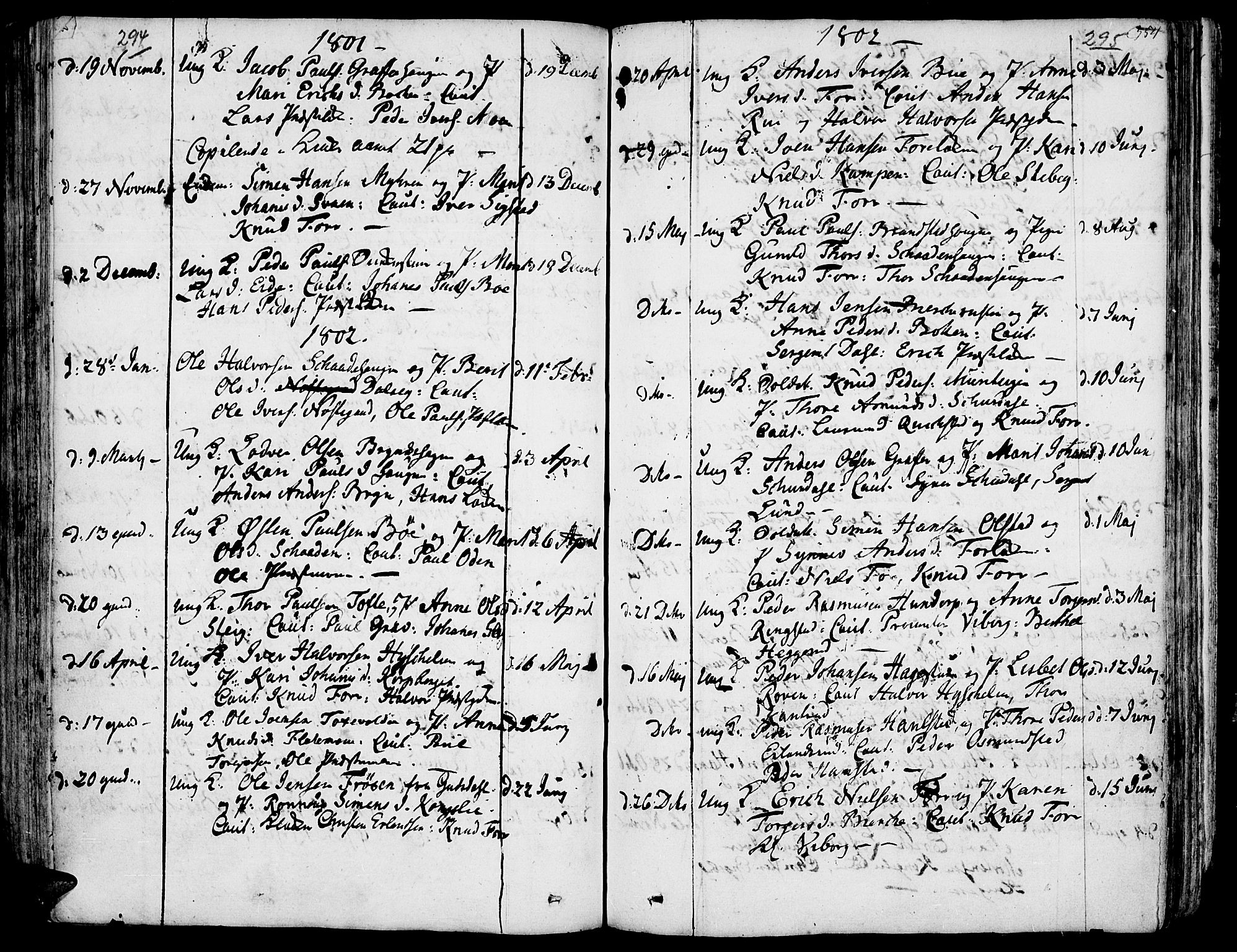 SAH, Fron prestekontor, H/Ha/Haa/L0001: Ministerialbok nr. 1, 1799-1816, s. 294-295