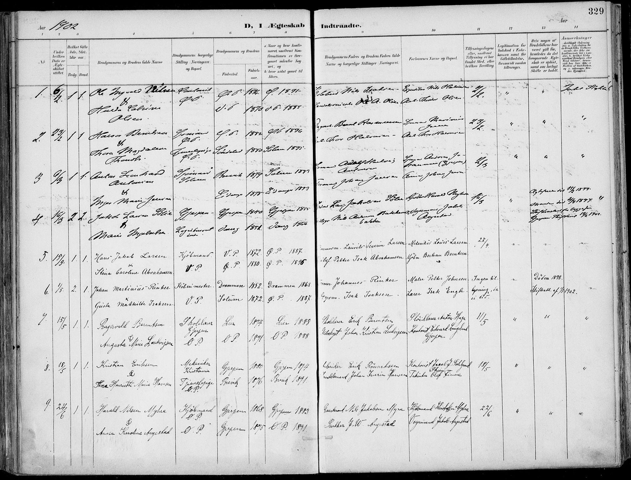 SAKO, Porsgrunn kirkebøker , F/Fa/L0011: Ministerialbok nr. 11, 1895-1919, s. 329