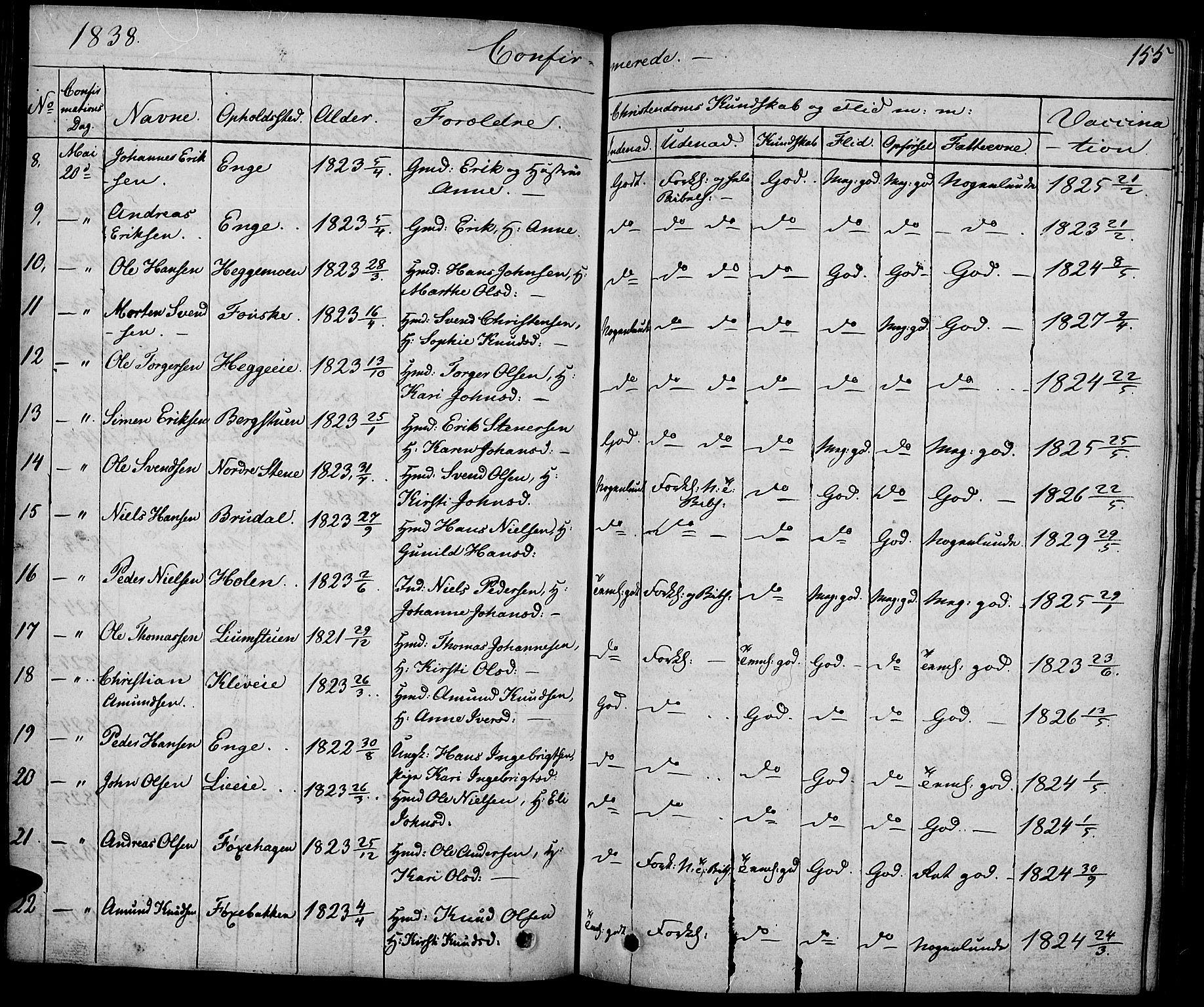 SAH, Gausdal prestekontor, Ministerialbok nr. 6, 1830-1839, s. 155