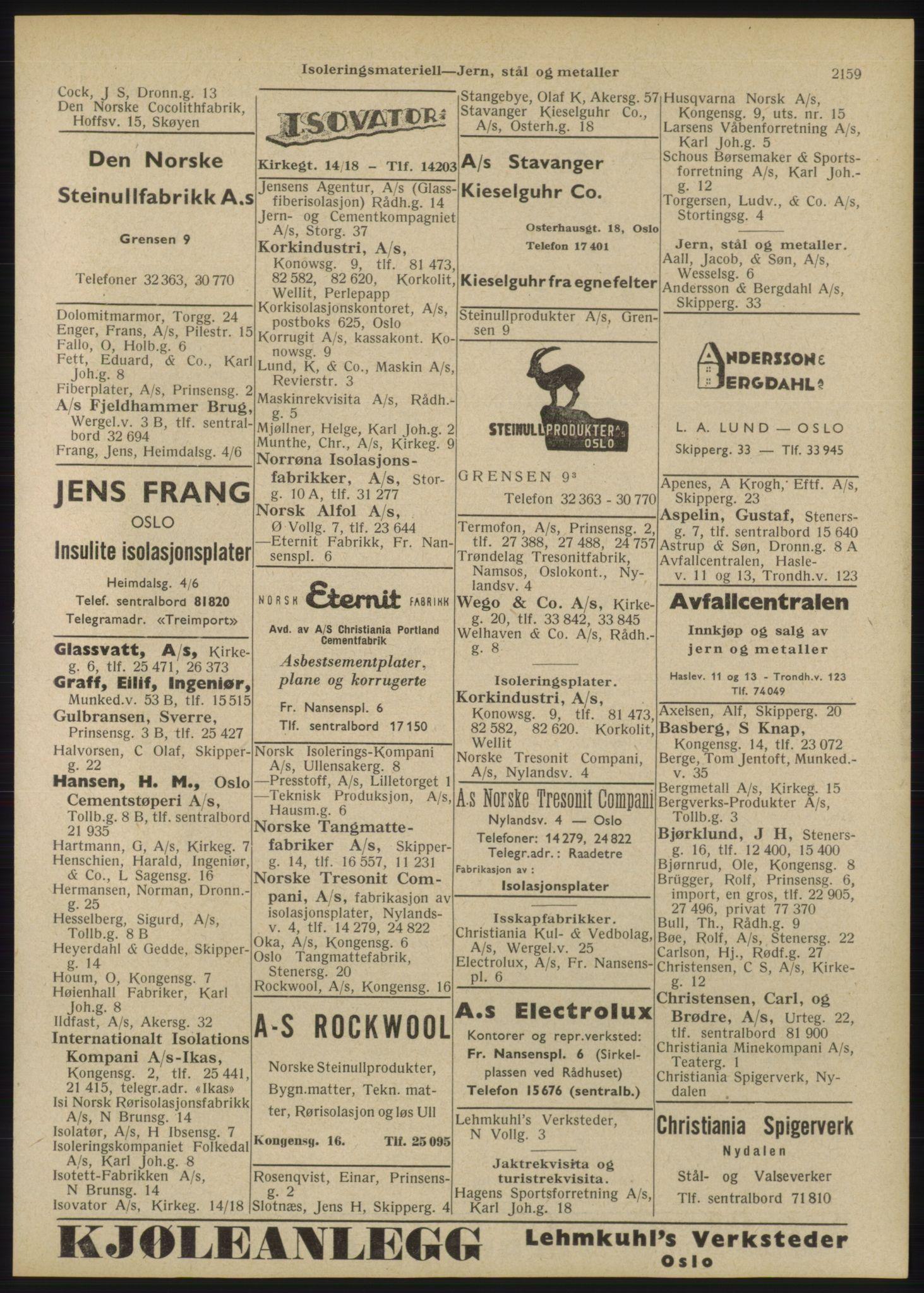 RA, Oslo adressebok (publikasjon)*, 1946, s. 2159