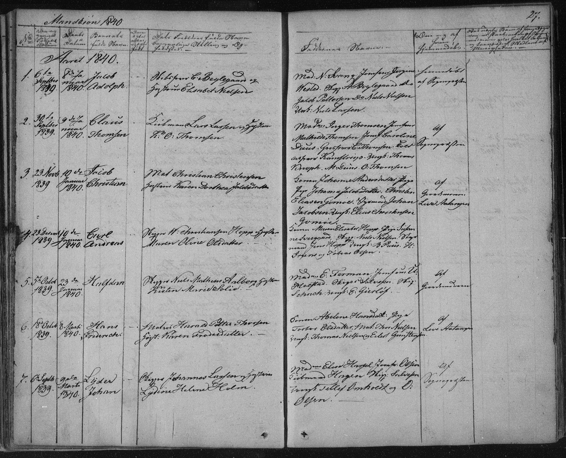SAKO, Kragerø kirkebøker, F/Fa/L0005: Ministerialbok nr. 5, 1832-1847, s. 27