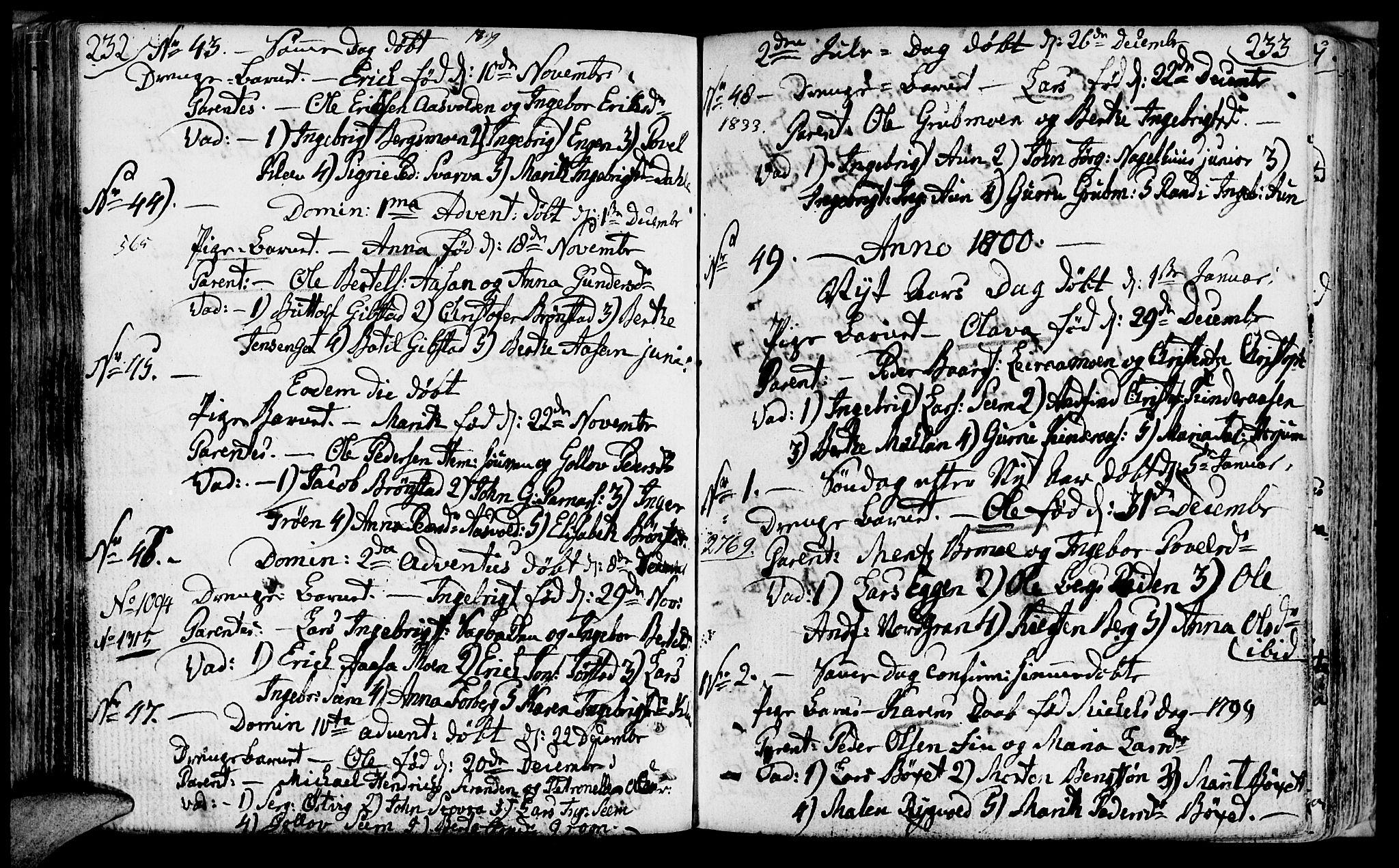 SAT, Ministerialprotokoller, klokkerbøker og fødselsregistre - Nord-Trøndelag, 749/L0468: Ministerialbok nr. 749A02, 1787-1817, s. 232-233