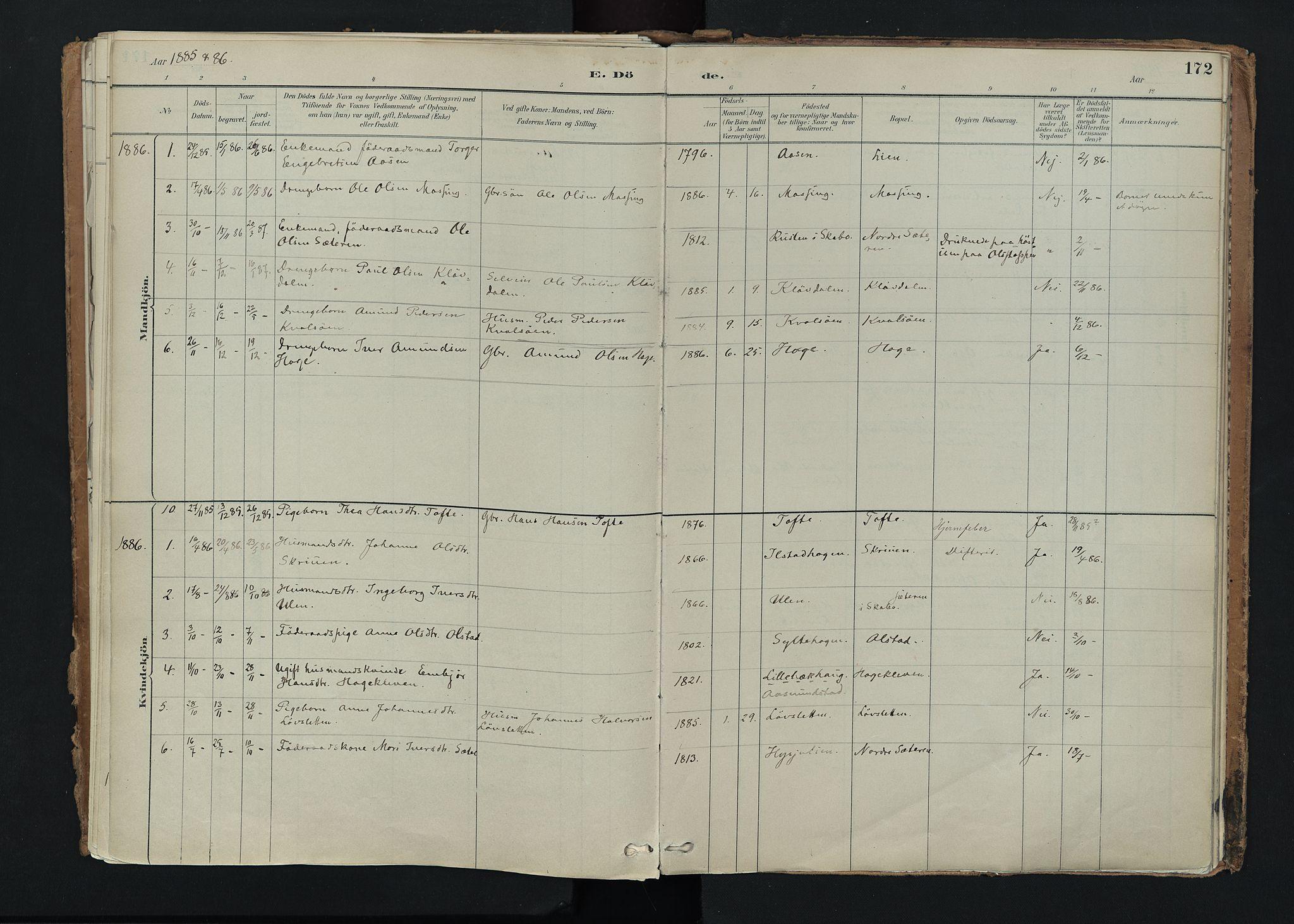 SAH, Nord-Fron prestekontor, Ministerialbok nr. 5, 1884-1914, s. 172