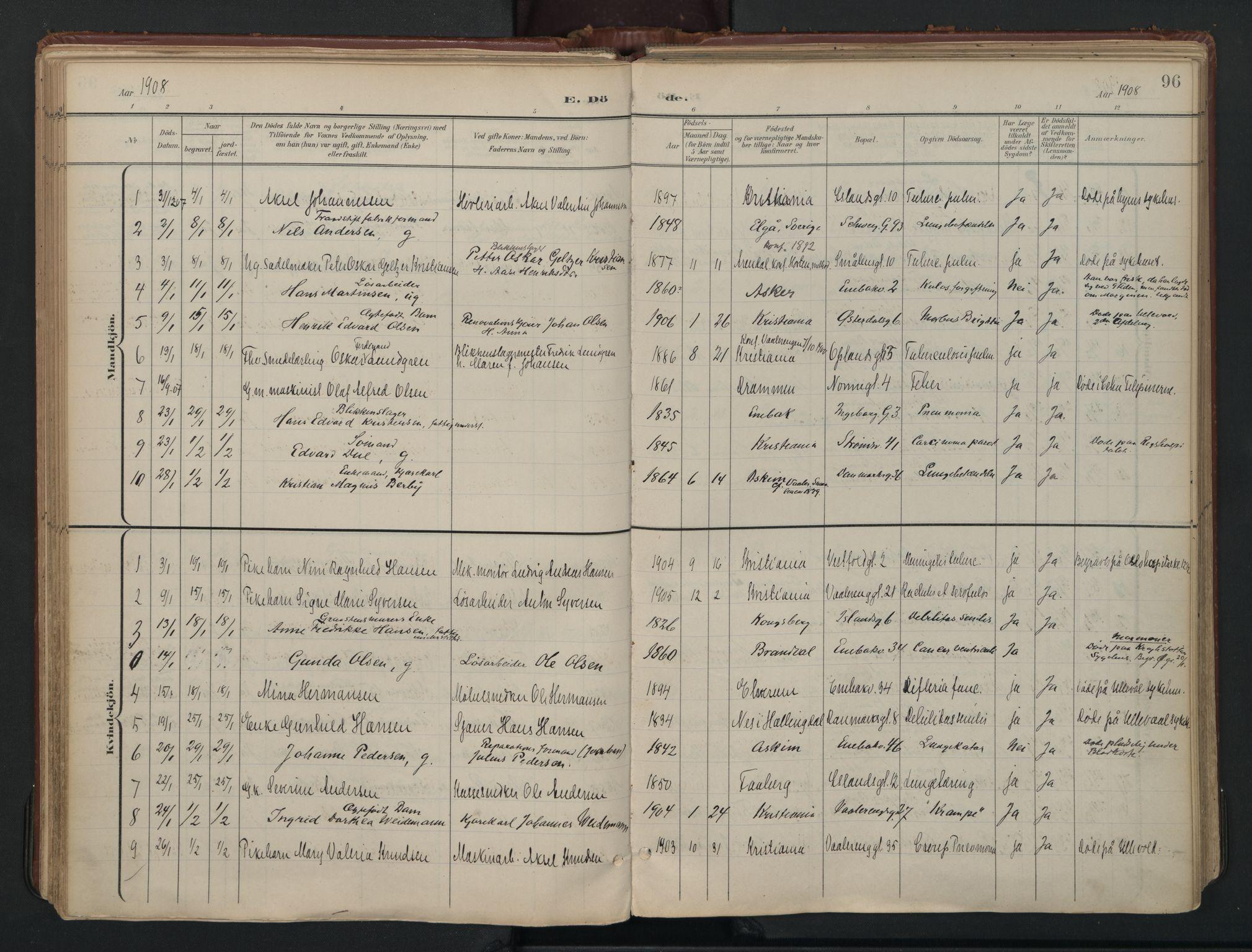 SAO, Vålerengen prestekontor Kirkebøker, F/Fa/L0003: Ministerialbok nr. 3, 1899-1930, s. 96
