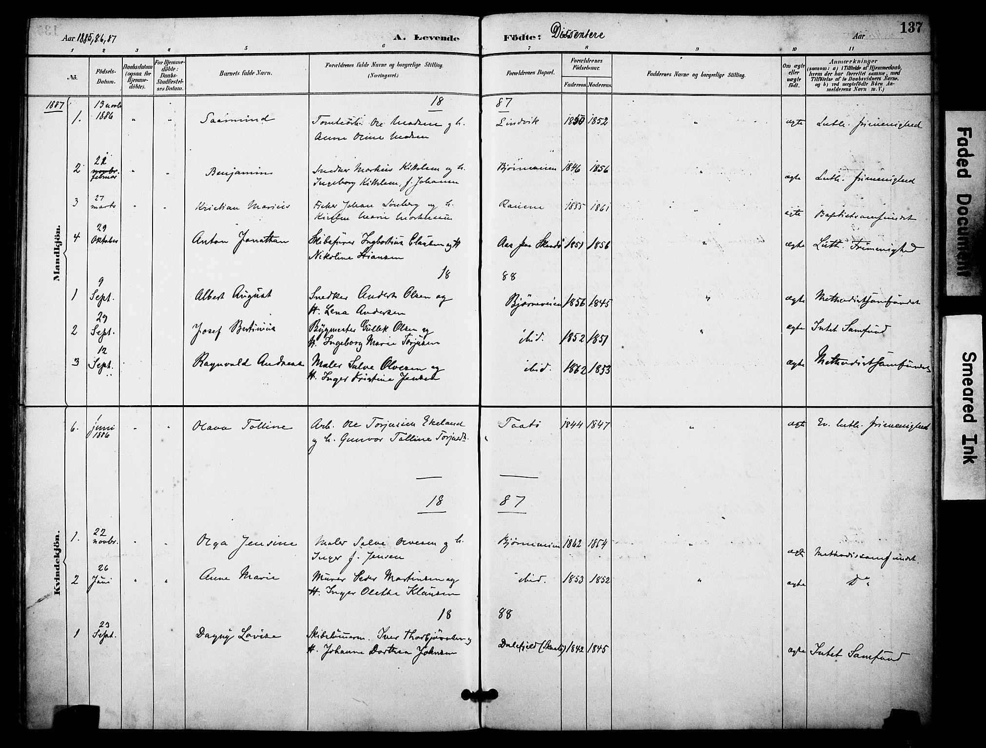 SAKO, Skåtøy kirkebøker, F/Fa/L0002: Ministerialbok nr. I 2, 1884-1899, s. 137