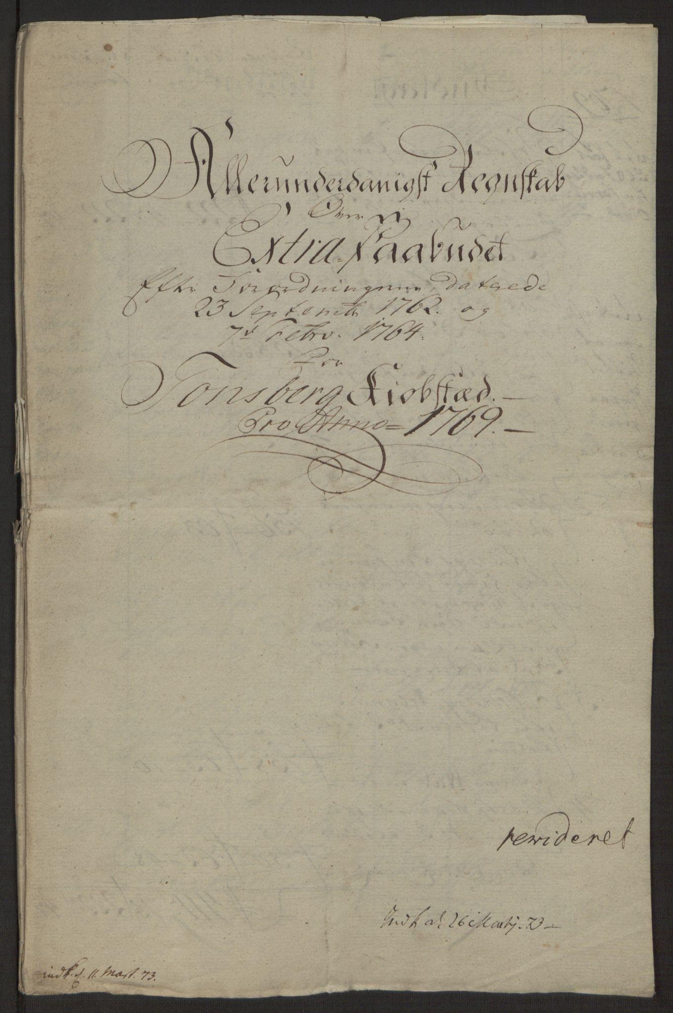 RA, Rentekammeret inntil 1814, Reviderte regnskaper, Byregnskaper, R/Rh/L0162: [H4] Kontribusjonsregnskap, 1762-1772, s. 351