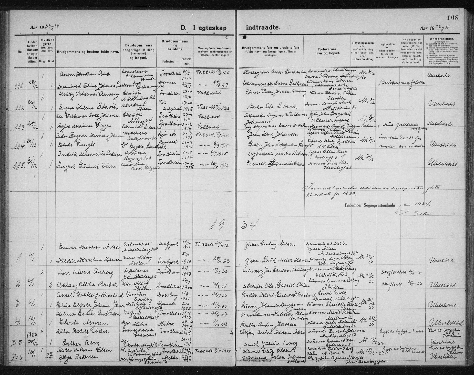 SAT, Ministerialprotokoller, klokkerbøker og fødselsregistre - Sør-Trøndelag, 605/L0260: Klokkerbok nr. 605C07, 1922-1942, s. 108