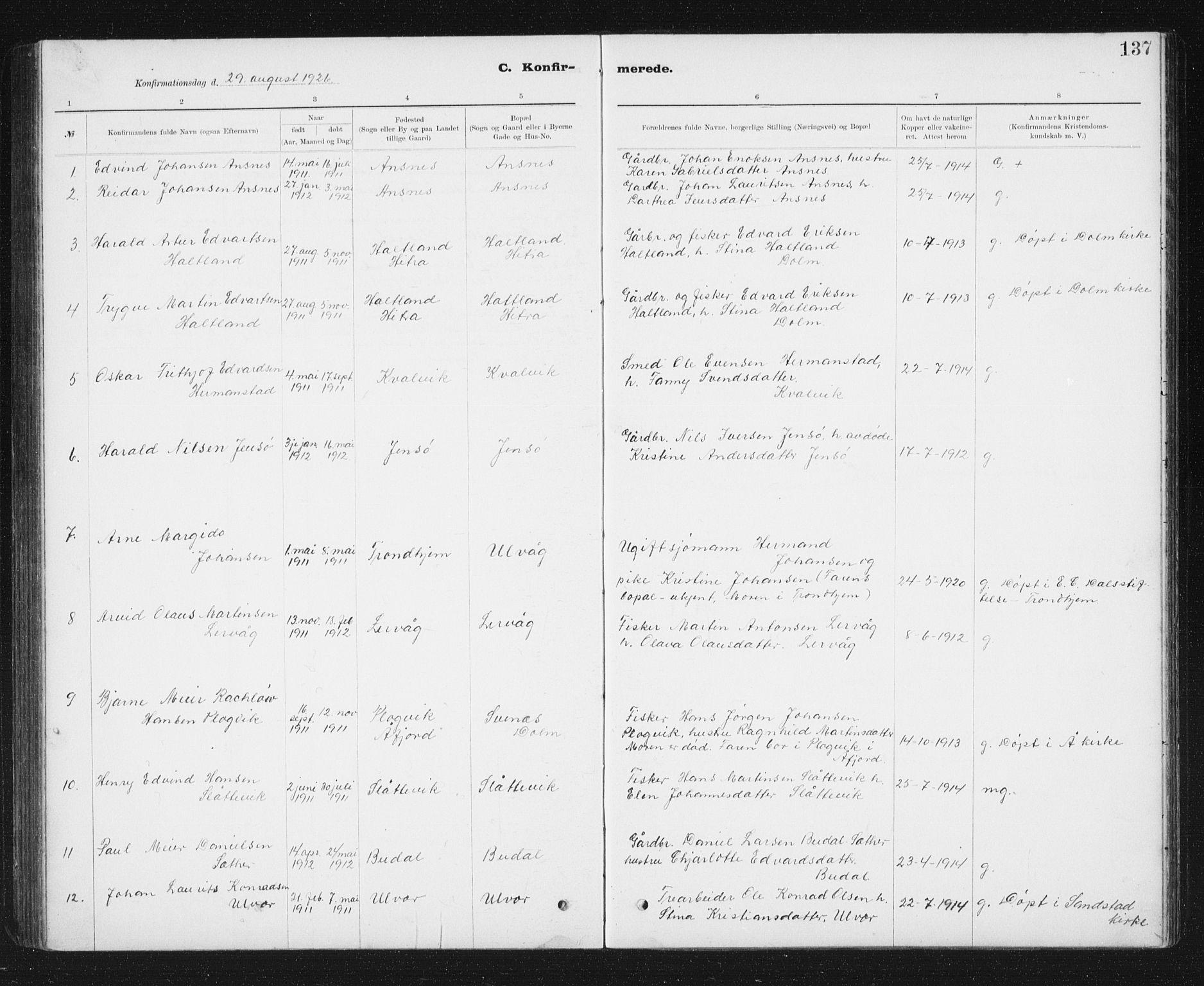 SAT, Ministerialprotokoller, klokkerbøker og fødselsregistre - Sør-Trøndelag, 637/L0563: Klokkerbok nr. 637C04, 1899-1940, s. 137