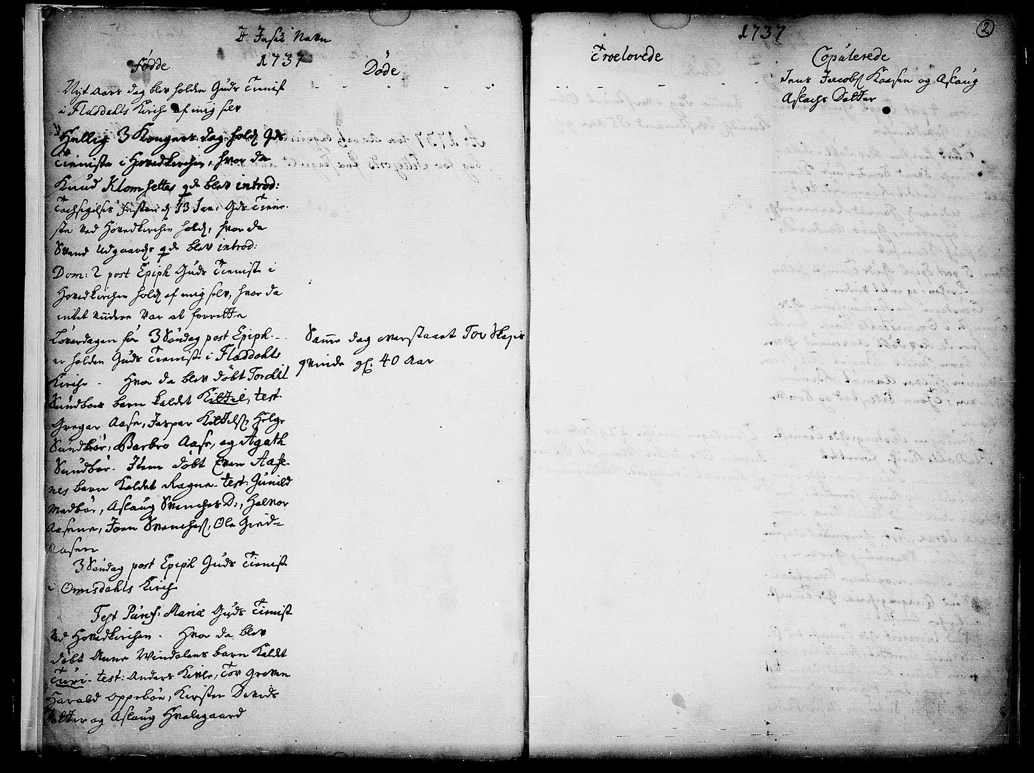 SAKO, Seljord kirkebøker, F/Fa/L0005: Ministerialbok nr. I 5, 1737-1743, s. 2