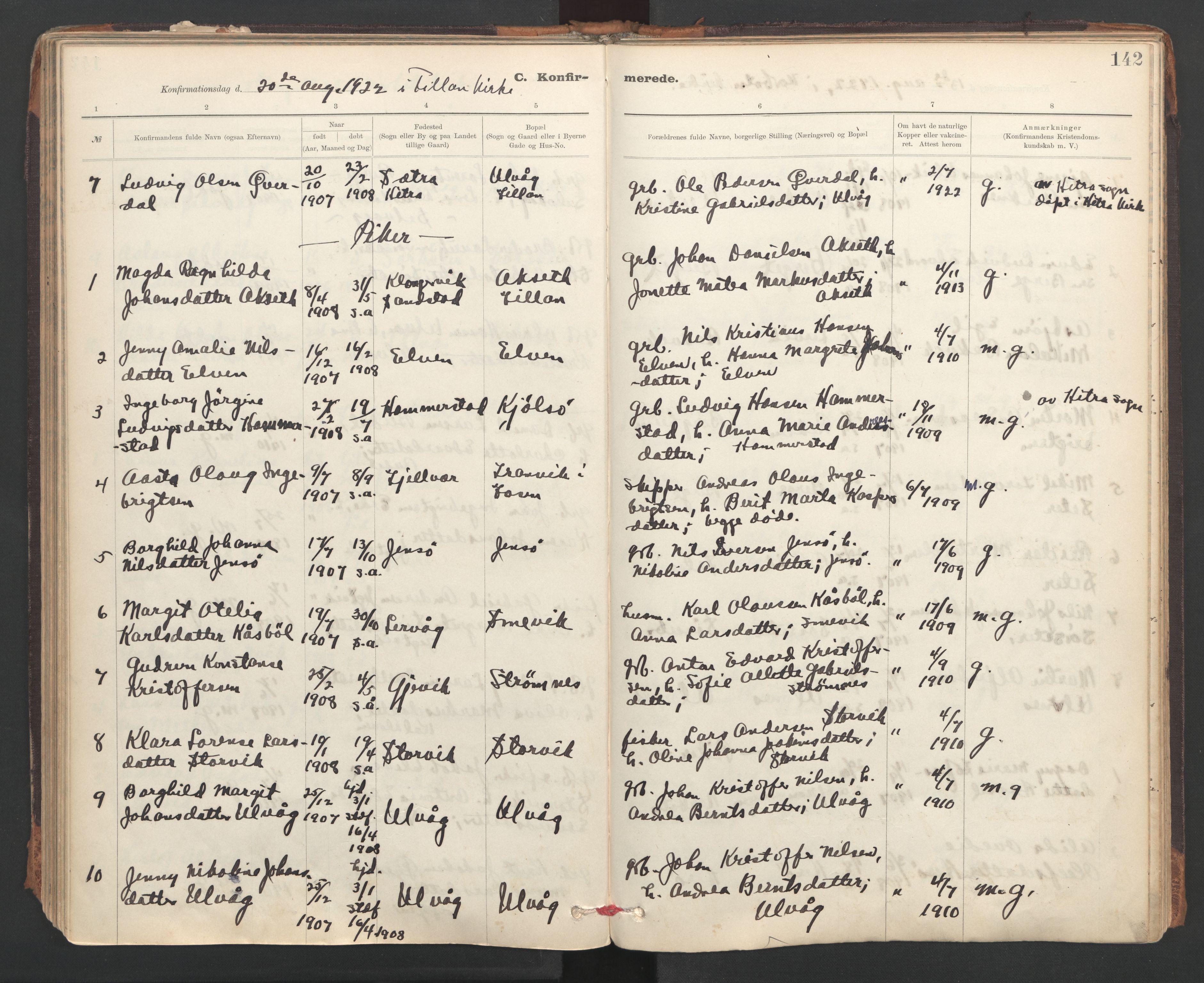 SAT, Ministerialprotokoller, klokkerbøker og fødselsregistre - Sør-Trøndelag, 637/L0559: Ministerialbok nr. 637A02, 1899-1923, s. 142
