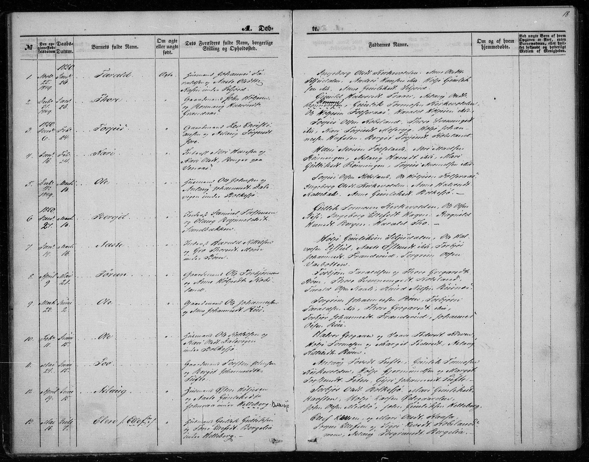 SAKO, Gransherad kirkebøker, F/Fa/L0002: Ministerialbok nr. I 2, 1844-1859, s. 18