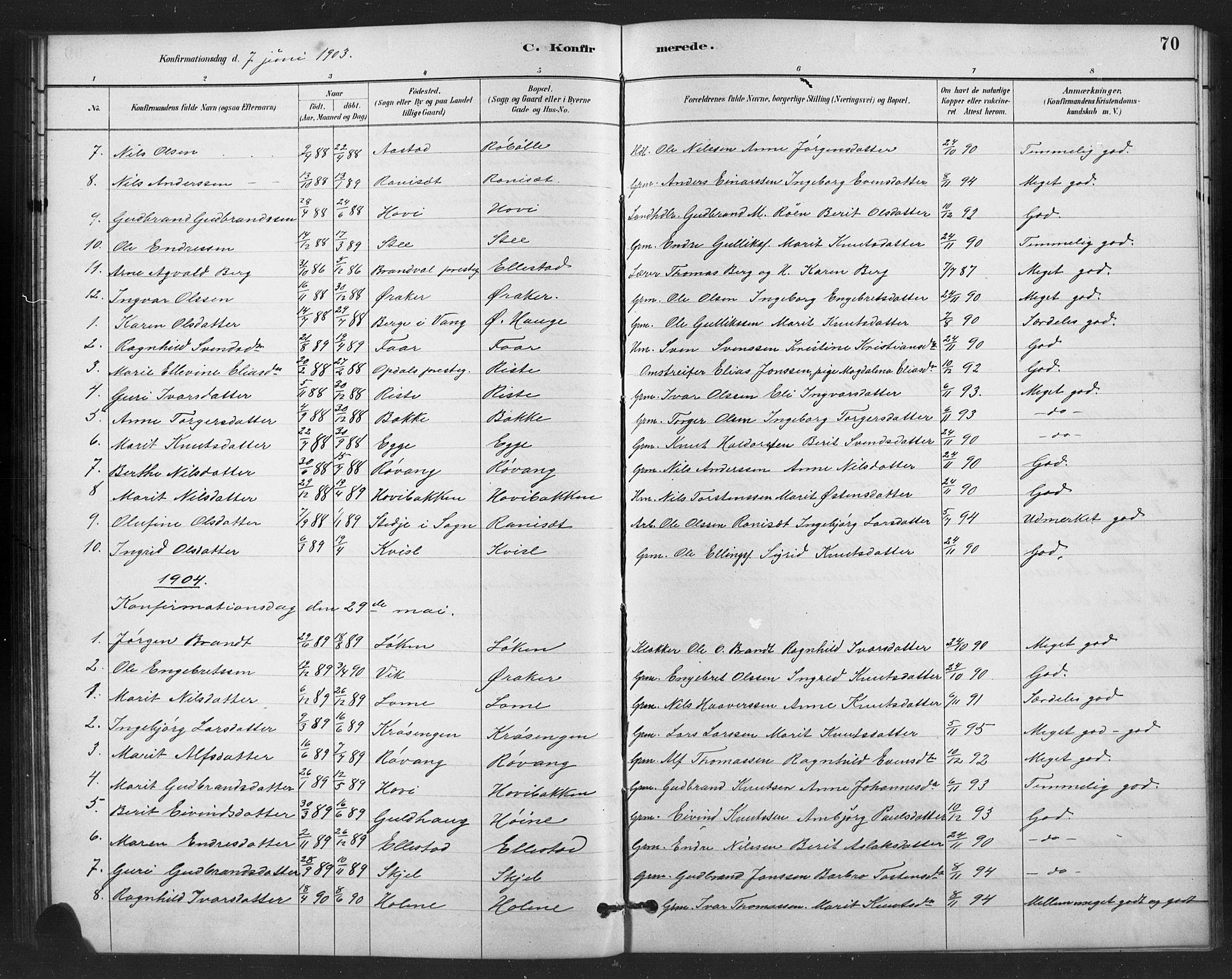 SAH, Vestre Slidre prestekontor, Klokkerbok nr. 6, 1881-1915, s. 70