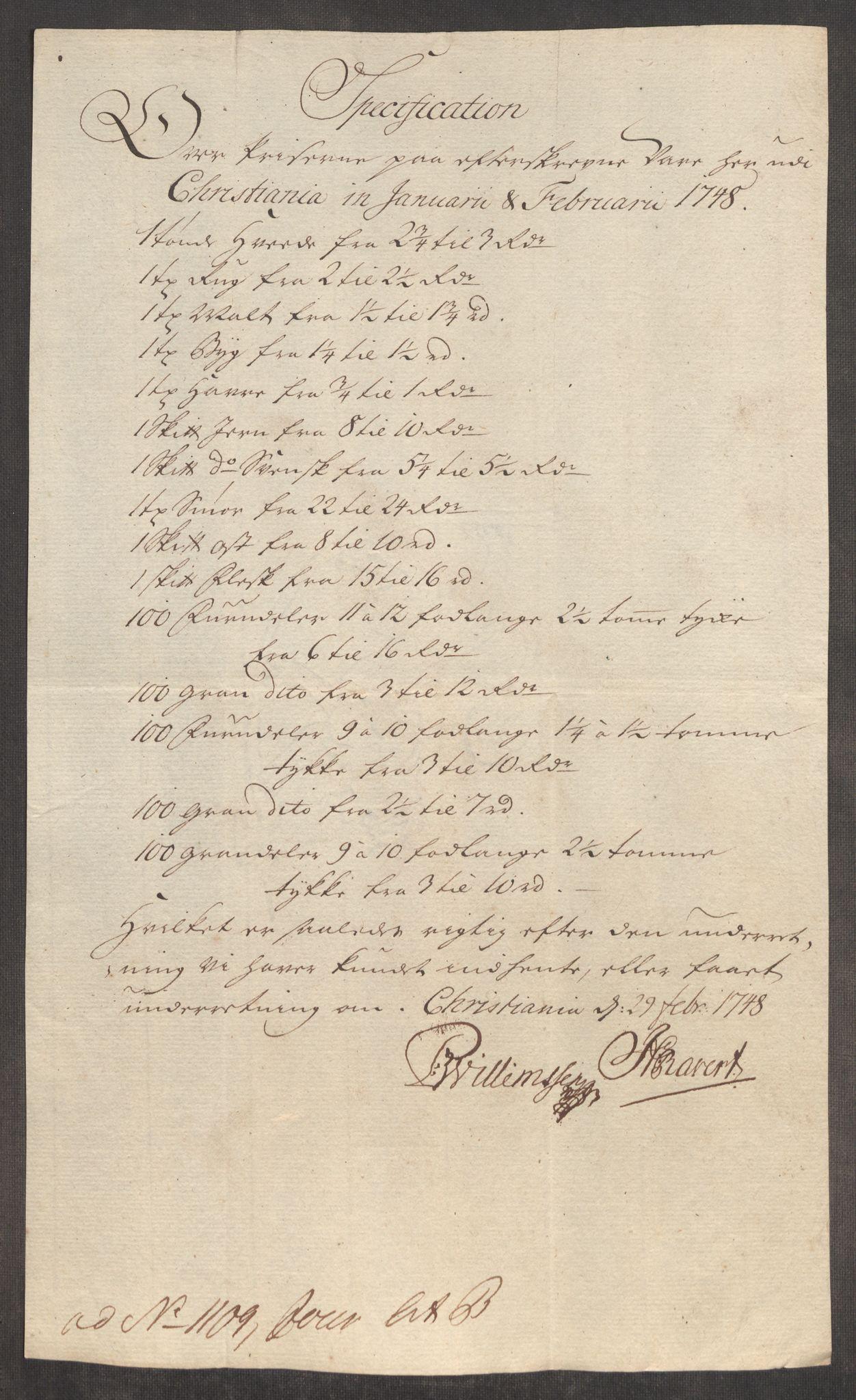 RA, Rentekammeret inntil 1814, Realistisk ordnet avdeling, Oe/L0003: [Ø1]: Priskuranter, 1745-1748, s. 715