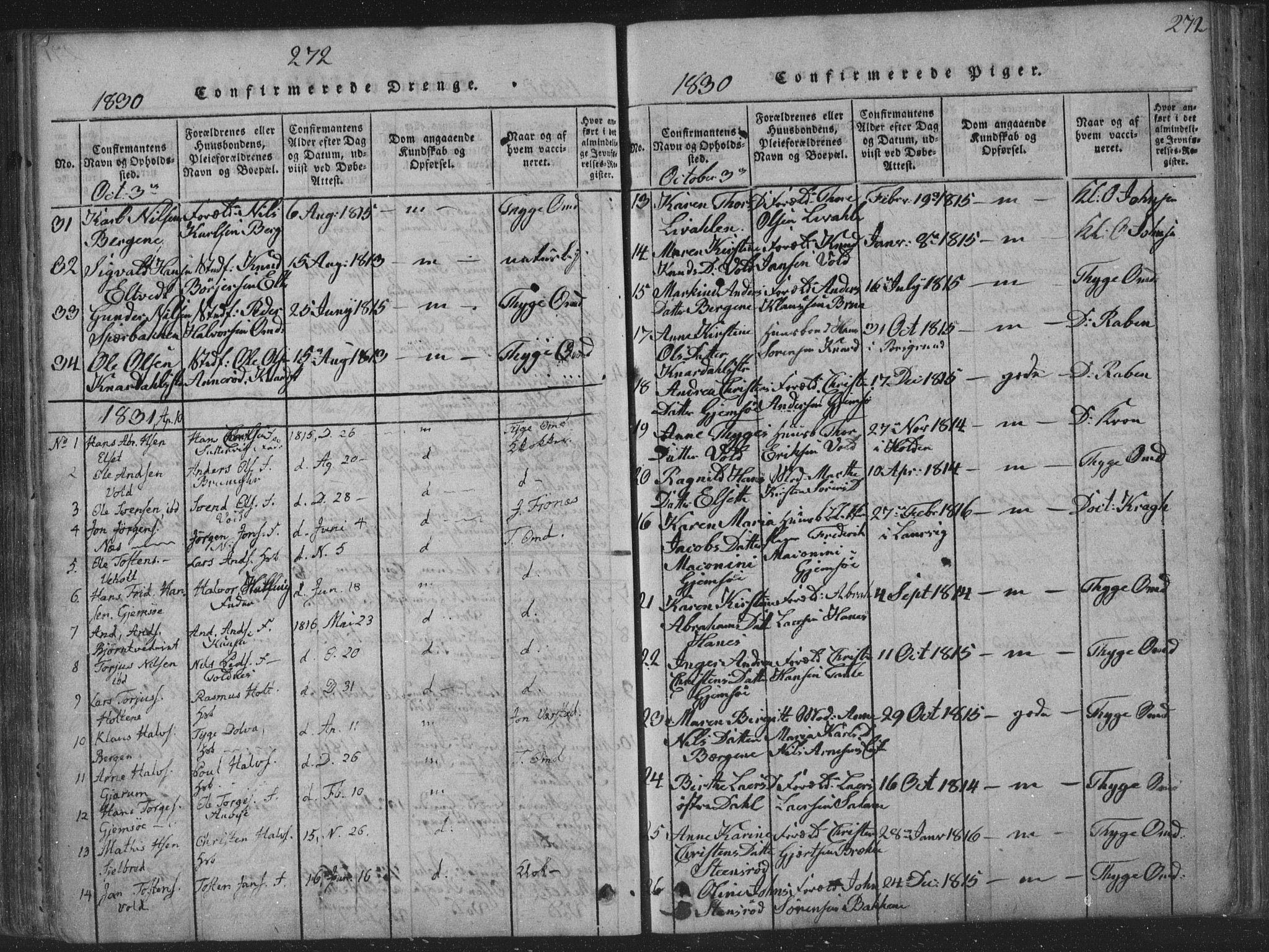 SAKO, Solum kirkebøker, F/Fa/L0004: Ministerialbok nr. I 4, 1814-1833, s. 272