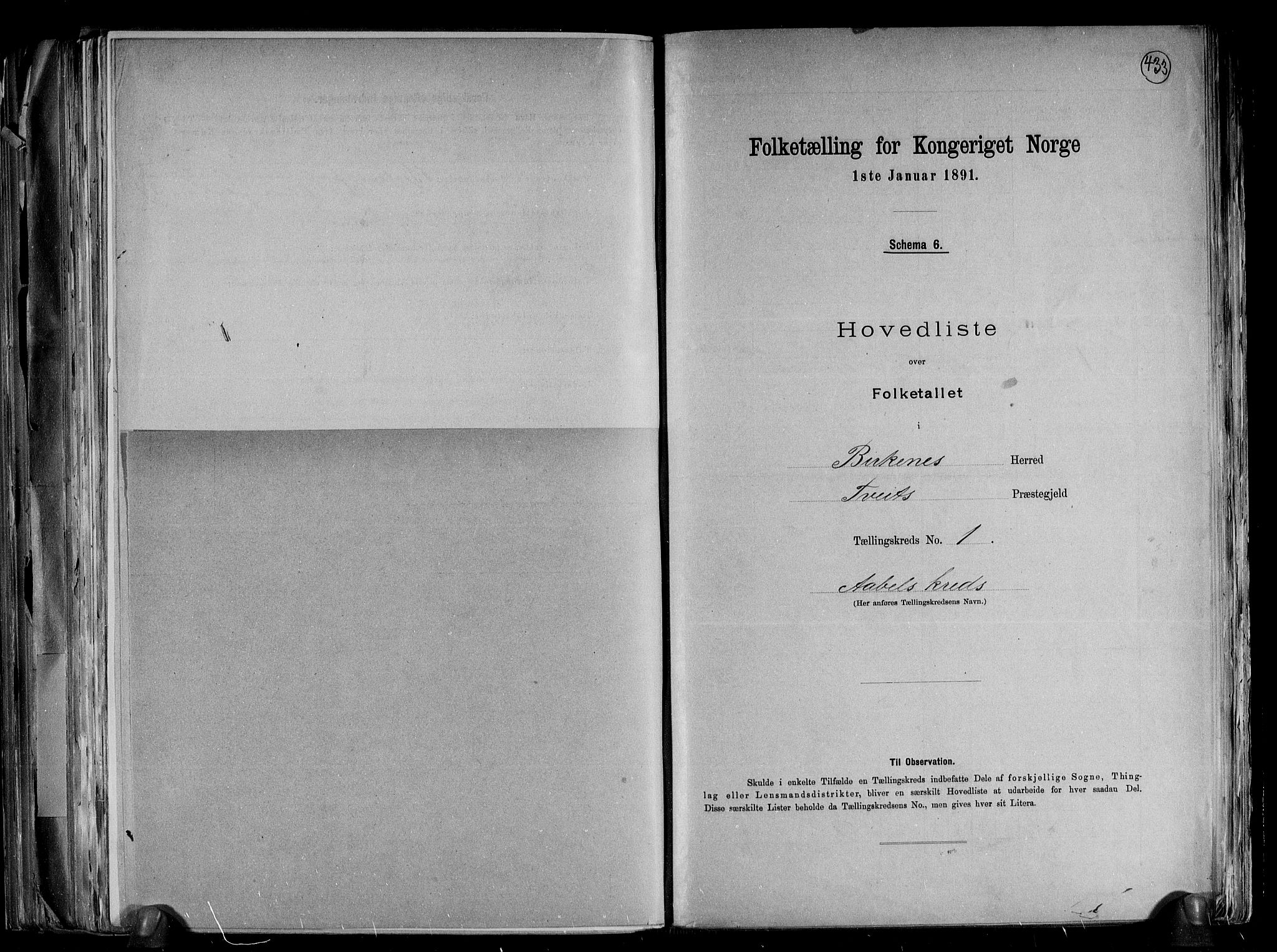 RA, Folketelling 1891 for 0928 Birkenes herred, 1891, s. 5