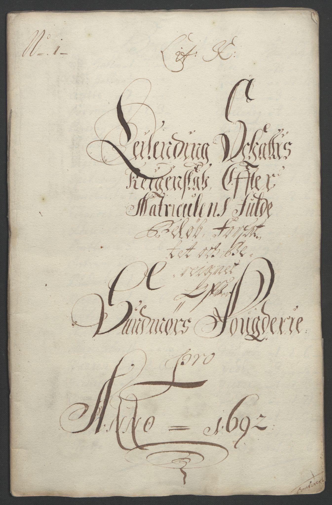 RA, Rentekammeret inntil 1814, Reviderte regnskaper, Fogderegnskap, R54/L3554: Fogderegnskap Sunnmøre, 1691-1693, s. 308