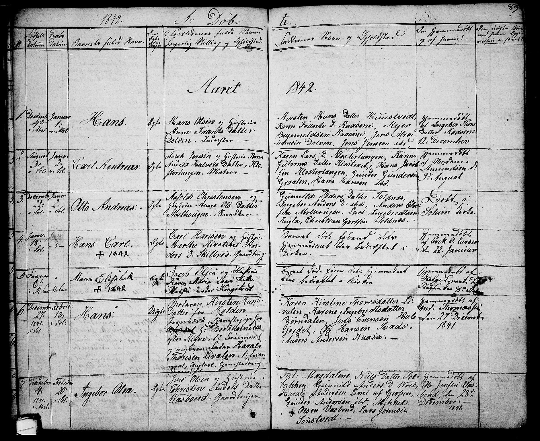 SAKO, Solum kirkebøker, G/Ga/L0002: Klokkerbok nr. I 2, 1834-1848, s. 89