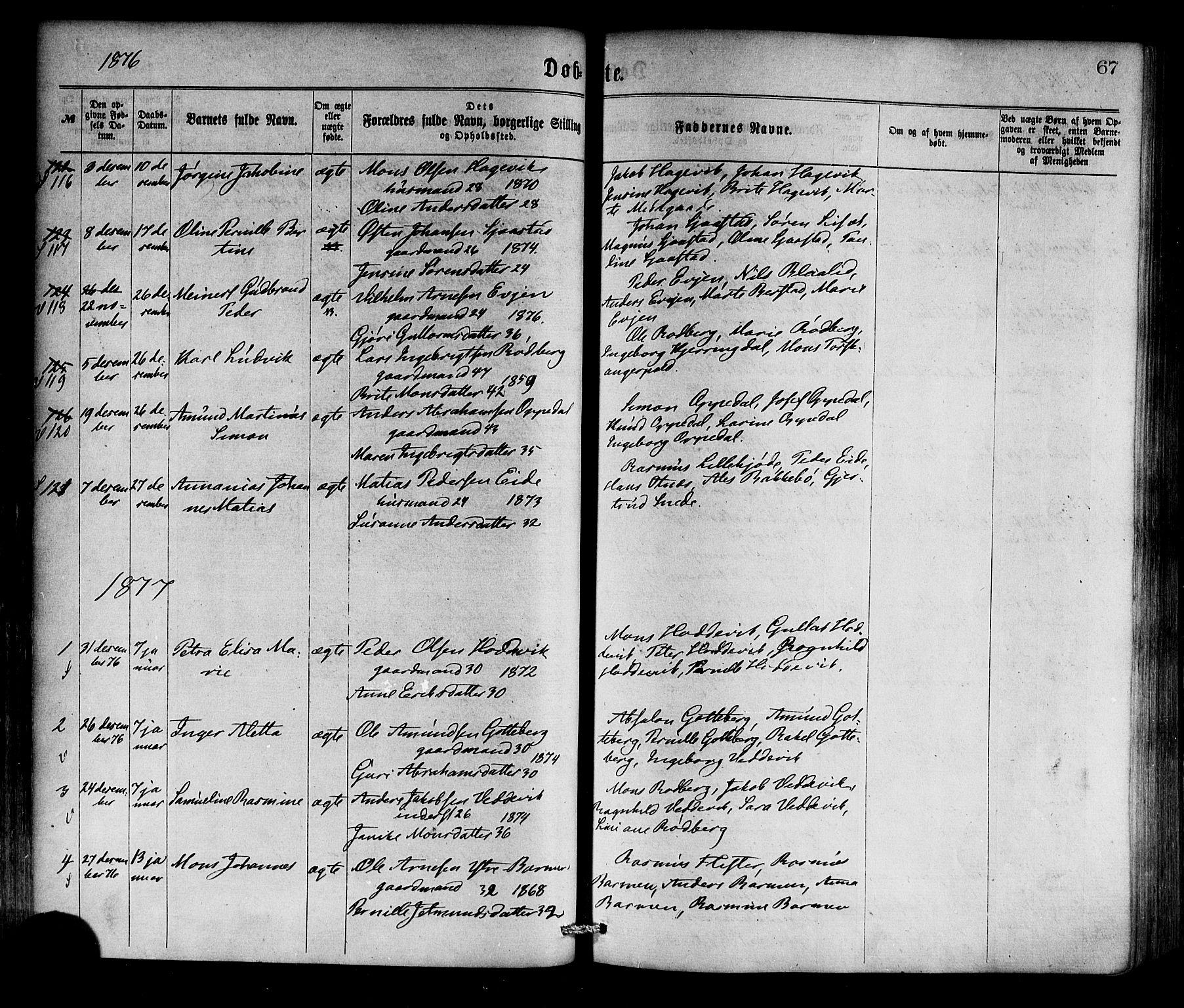 SAB, Selje sokneprestembete*, Ministerialbok nr. A 12, 1870-1880, s. 67