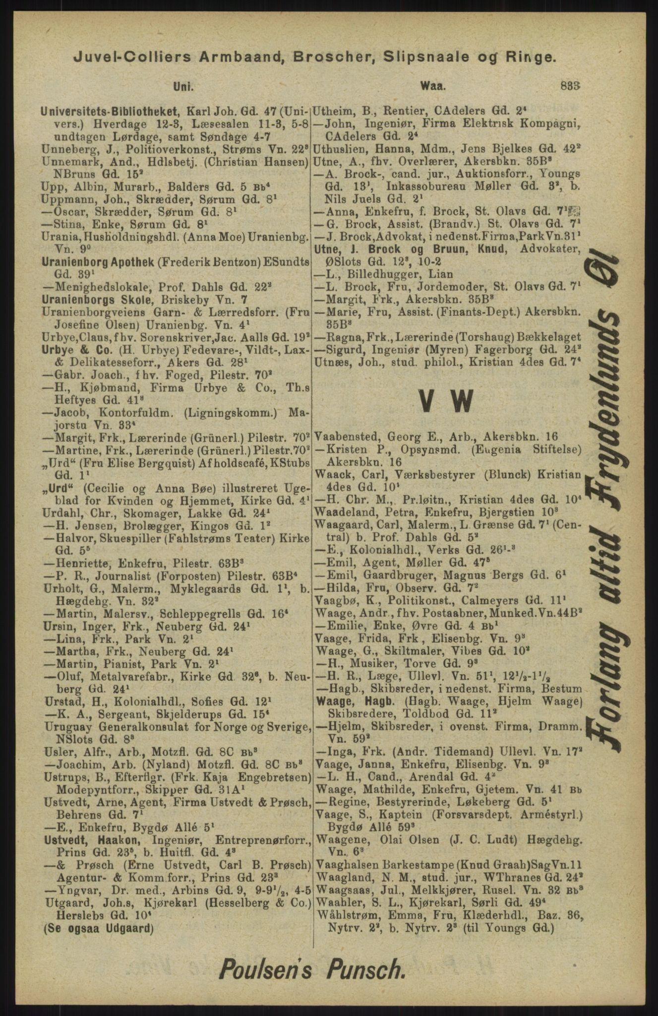 RA, Kristiania adressebok (publikasjon)*, 1904, s. 833