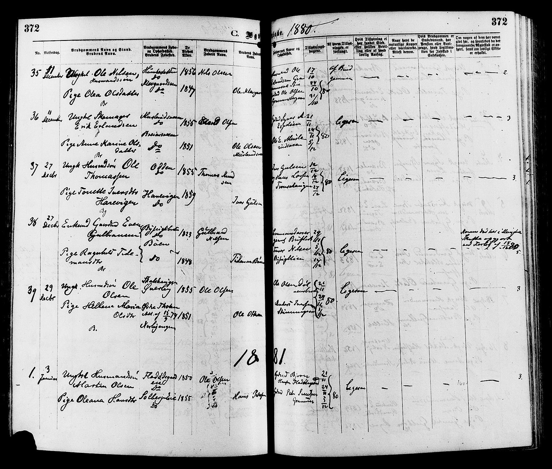 SAH, Sør-Aurdal prestekontor, Ministerialbok nr. 8, 1877-1885, s. 372