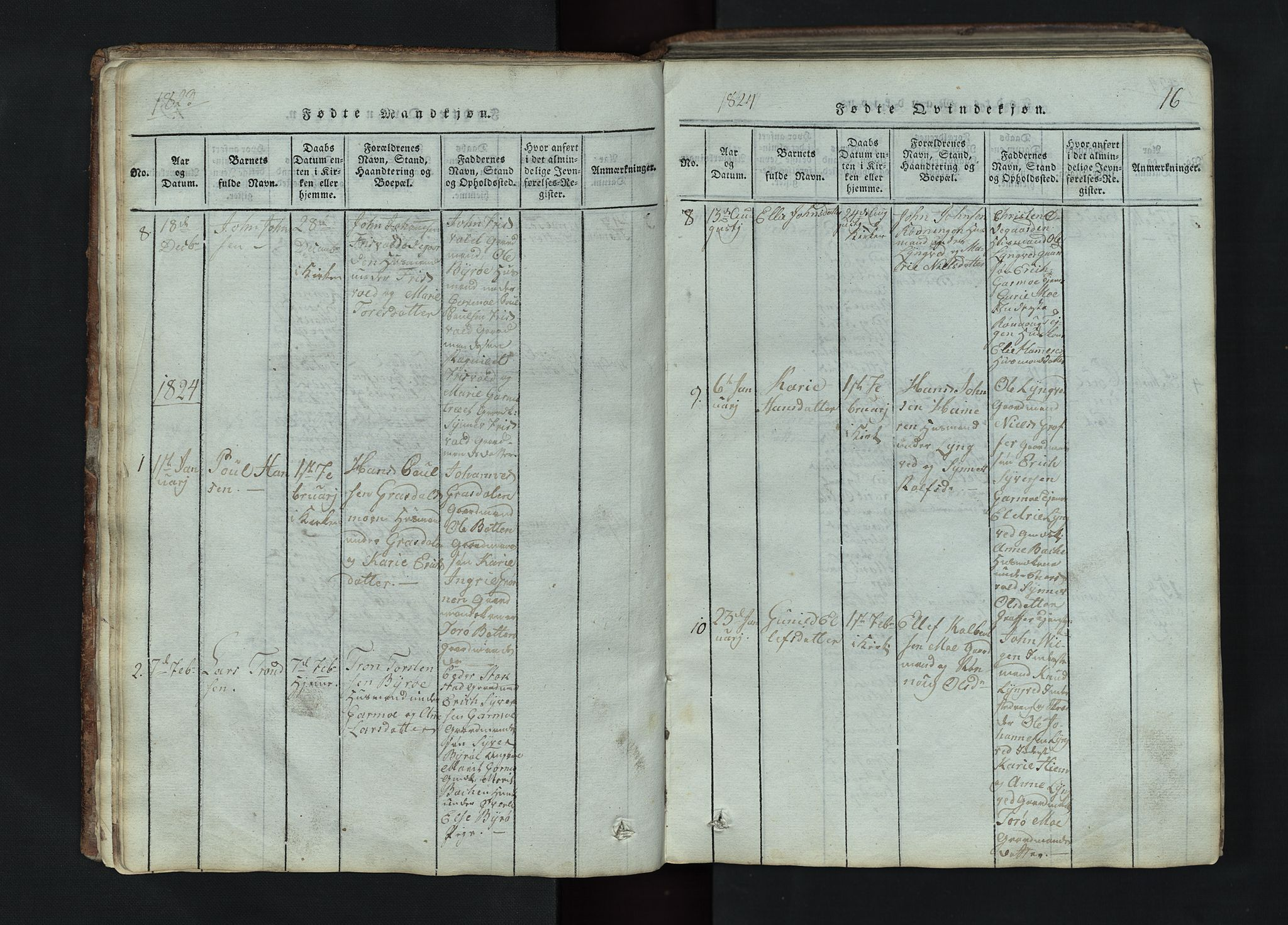SAH, Lom prestekontor, L/L0002: Klokkerbok nr. 2, 1815-1844, s. 16