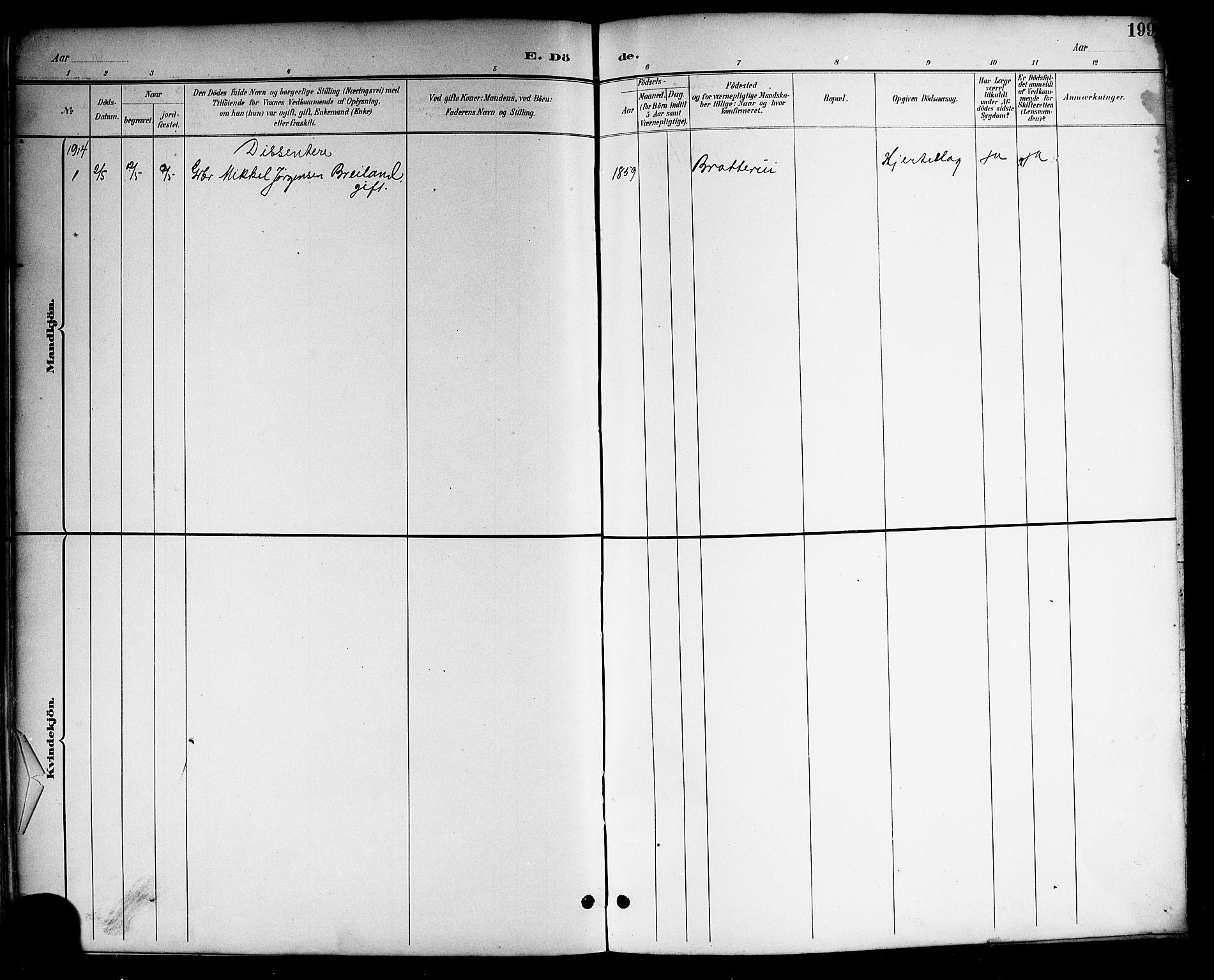 SAKO, Drangedal kirkebøker, G/Gb/L0002: Klokkerbok nr. II 2, 1895-1918, s. 199
