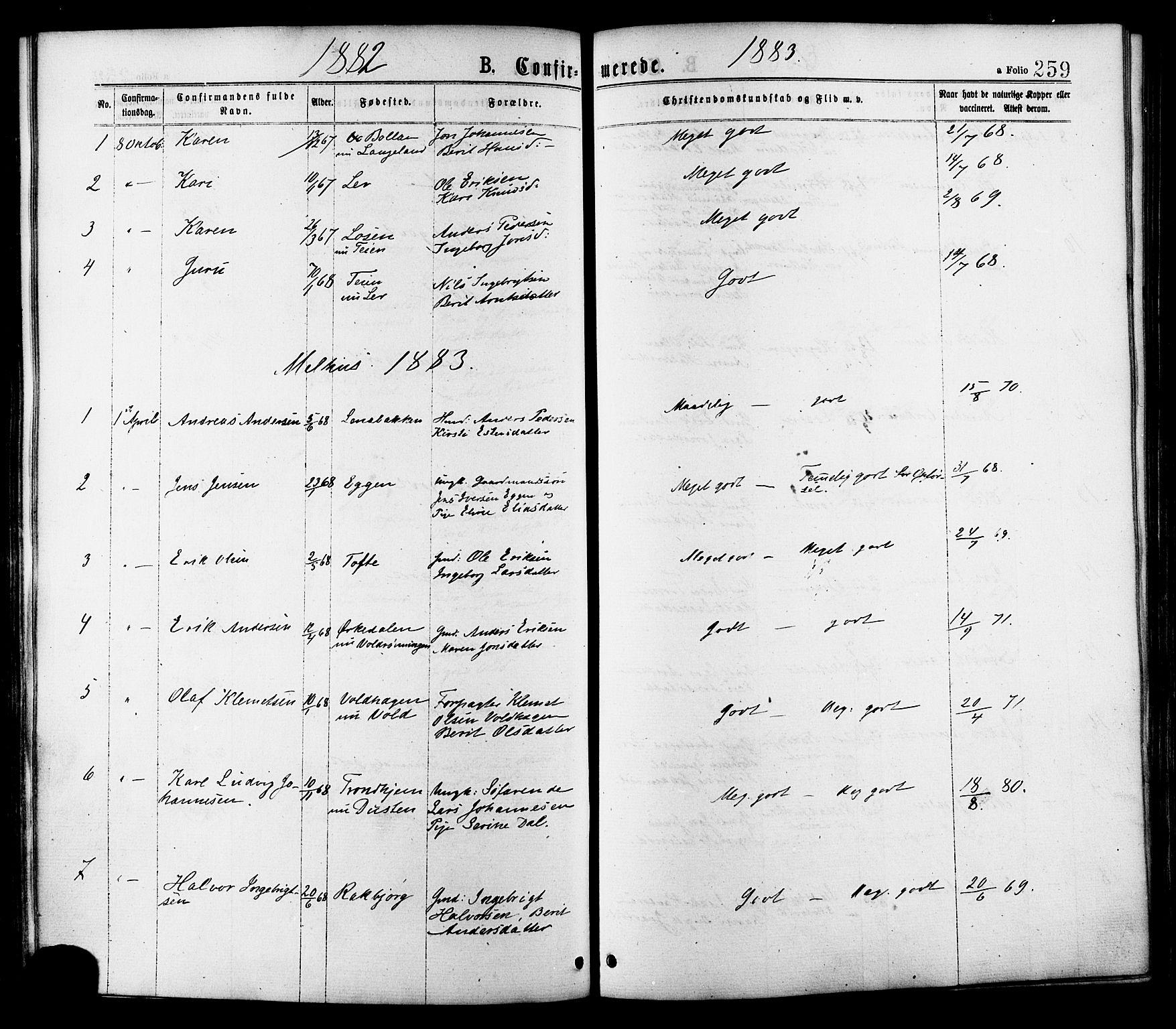 SAT, Ministerialprotokoller, klokkerbøker og fødselsregistre - Sør-Trøndelag, 691/L1079: Ministerialbok nr. 691A11, 1873-1886, s. 259a