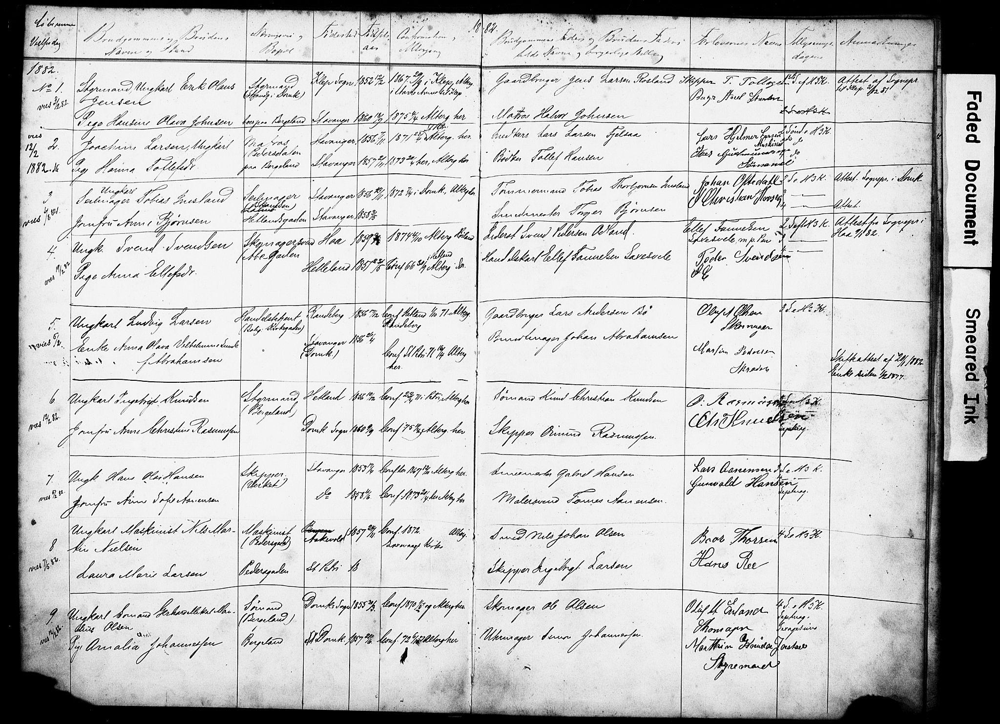 SAST, St. Petri sokneprestkontor, 70/705BA/L0003: Lysningsprotokoll nr. 3, 1882-1895