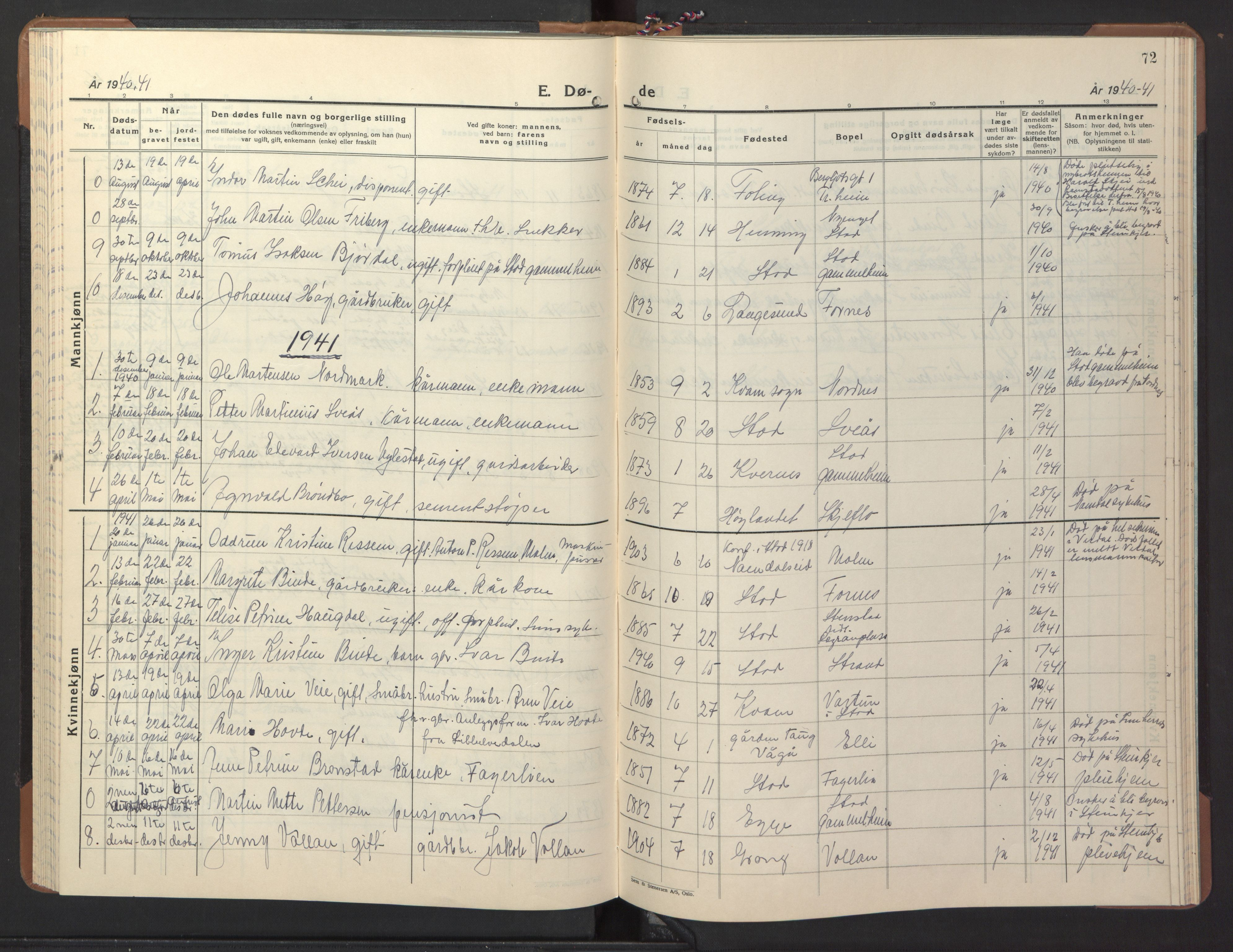 SAT, Ministerialprotokoller, klokkerbøker og fødselsregistre - Nord-Trøndelag, 746/L0456: Klokkerbok nr. 746C02, 1936-1948, s. 72