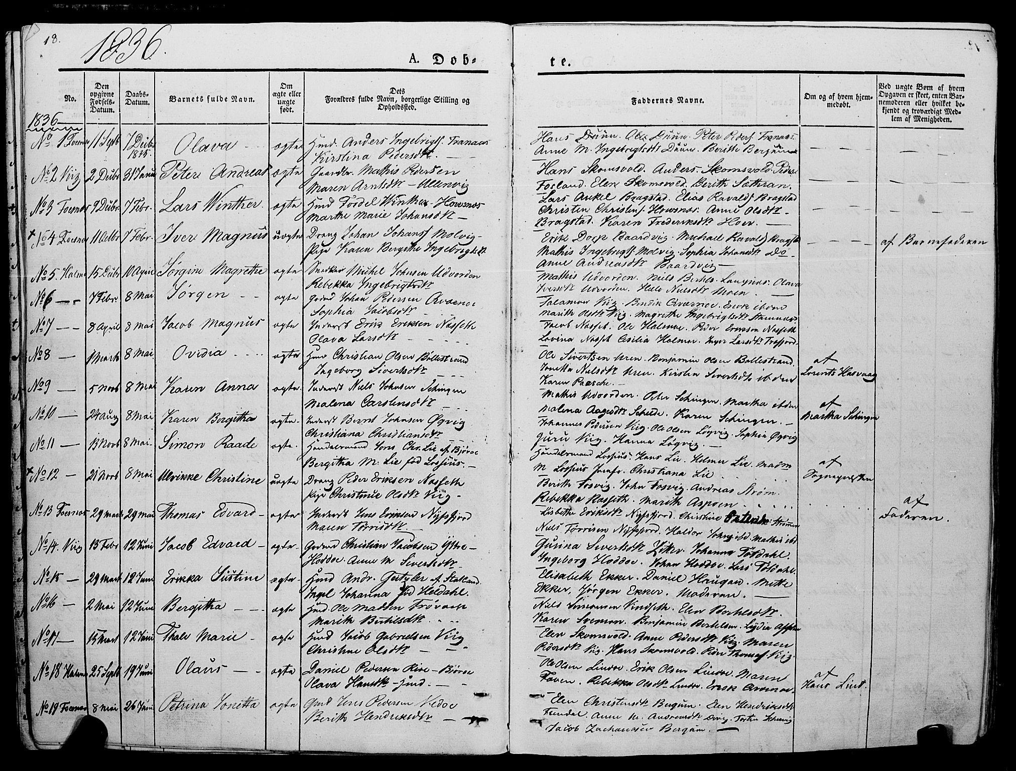 SAT, Ministerialprotokoller, klokkerbøker og fødselsregistre - Nord-Trøndelag, 773/L0614: Ministerialbok nr. 773A05, 1831-1856, s. 18