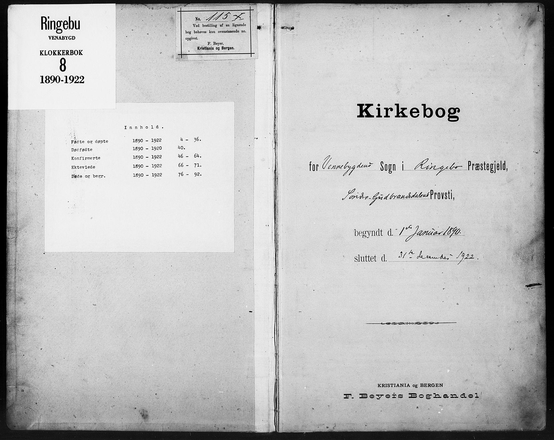 SAH, Ringebu prestekontor, Klokkerbok nr. 8, 1890-1922, s. 1