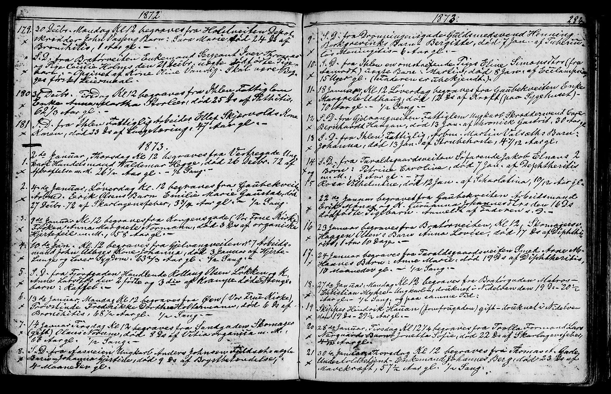 SAT, Ministerialprotokoller, klokkerbøker og fødselsregistre - Sør-Trøndelag, 602/L0142: Klokkerbok nr. 602C10, 1872-1894, s. 284