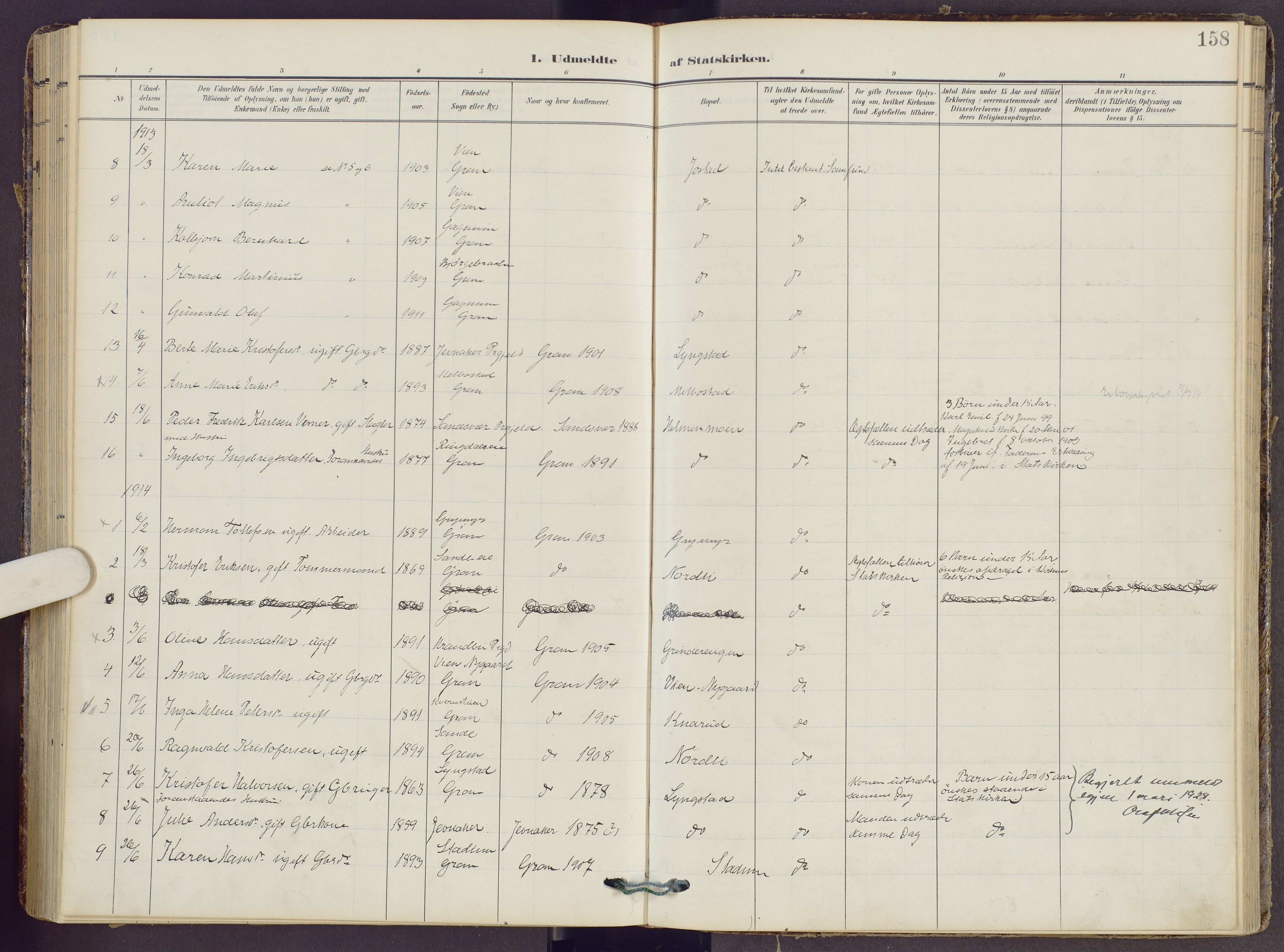 SAH, Gran prestekontor, Ministerialbok nr. 22, 1908-1918, s. 158