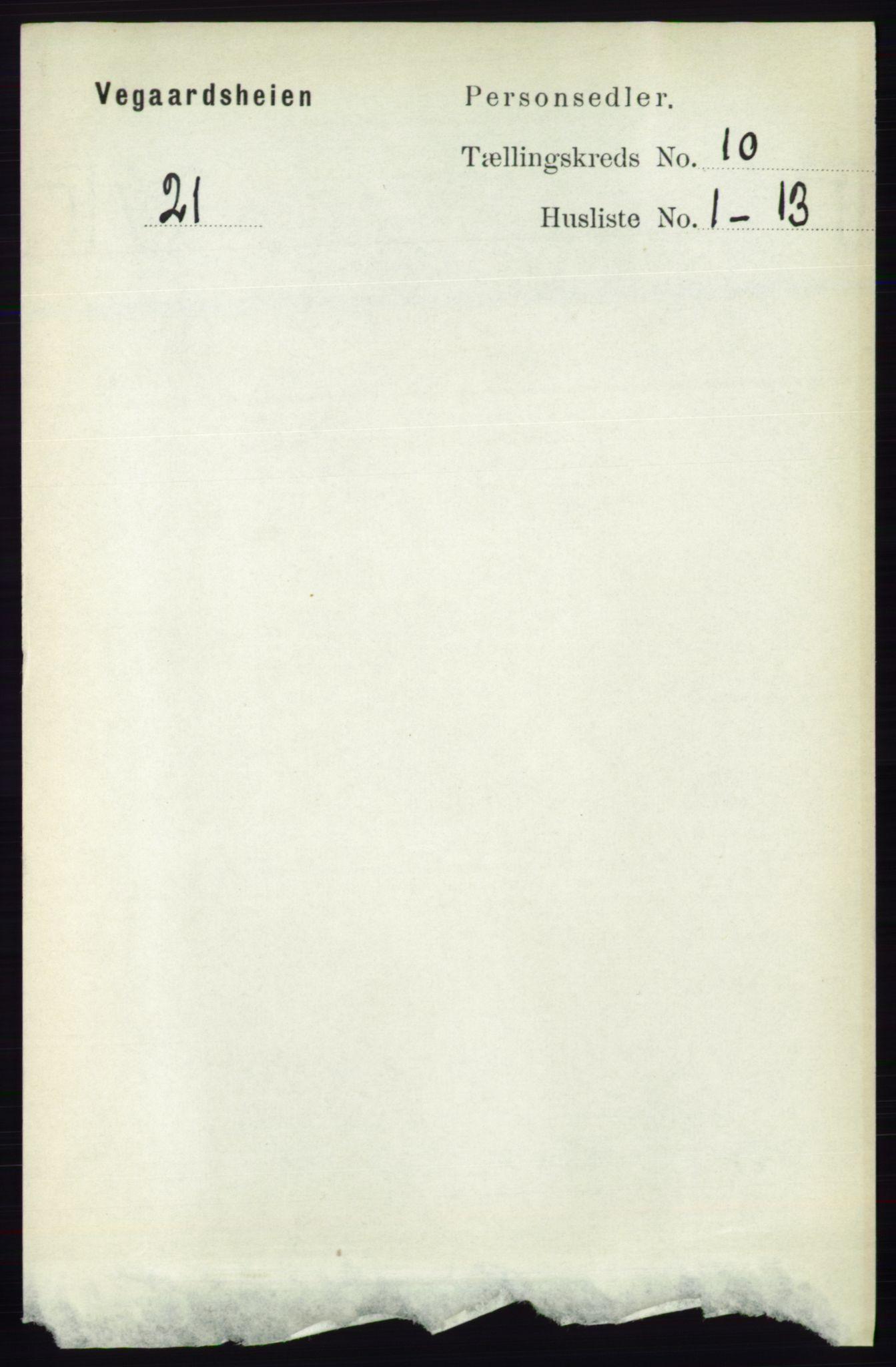 RA, Folketelling 1891 for 0912 Vegårshei herred, 1891, s. 1907