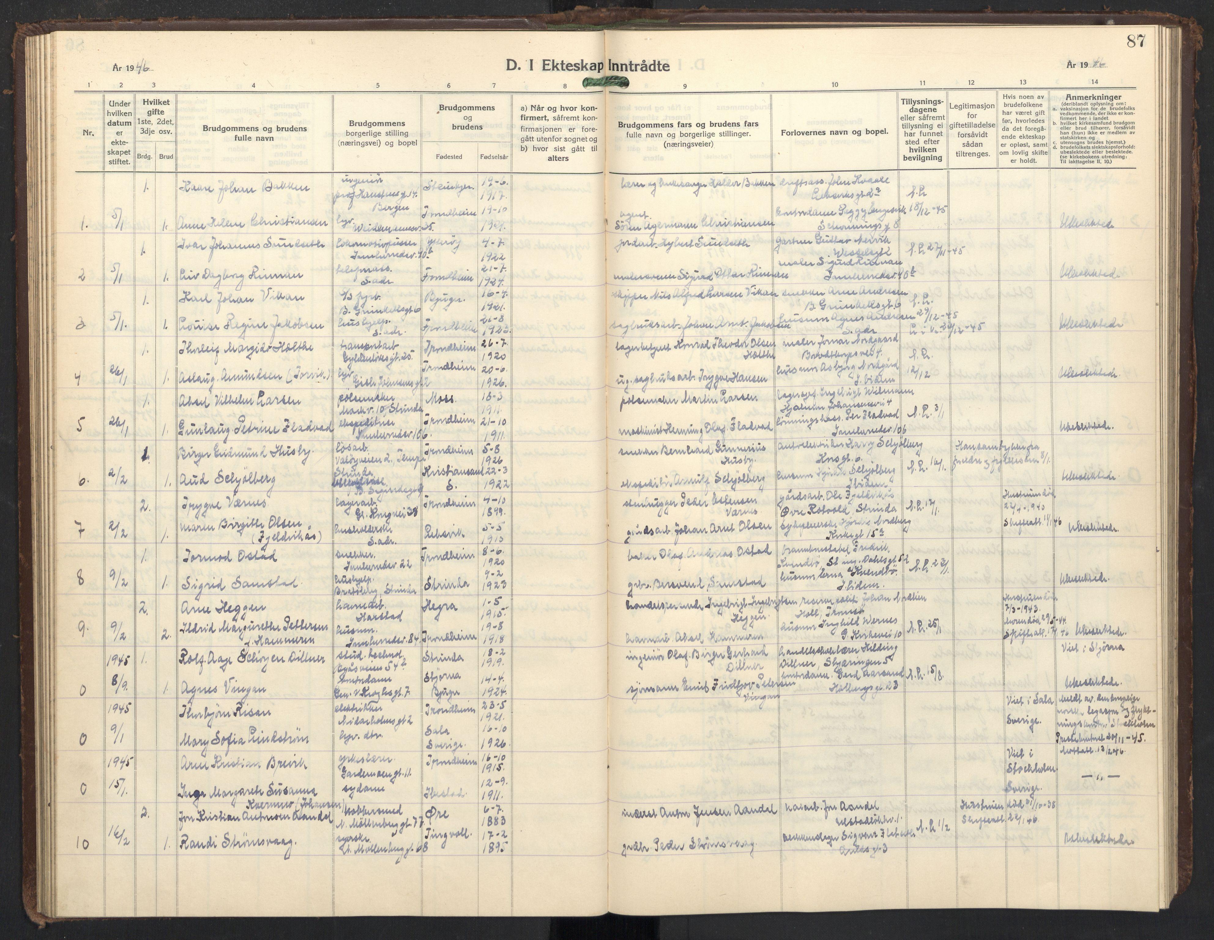 SAT, Ministerialprotokoller, klokkerbøker og fødselsregistre - Sør-Trøndelag, 605/L0263: Klokkerbok nr. 605C10, 1938-1949, s. 87