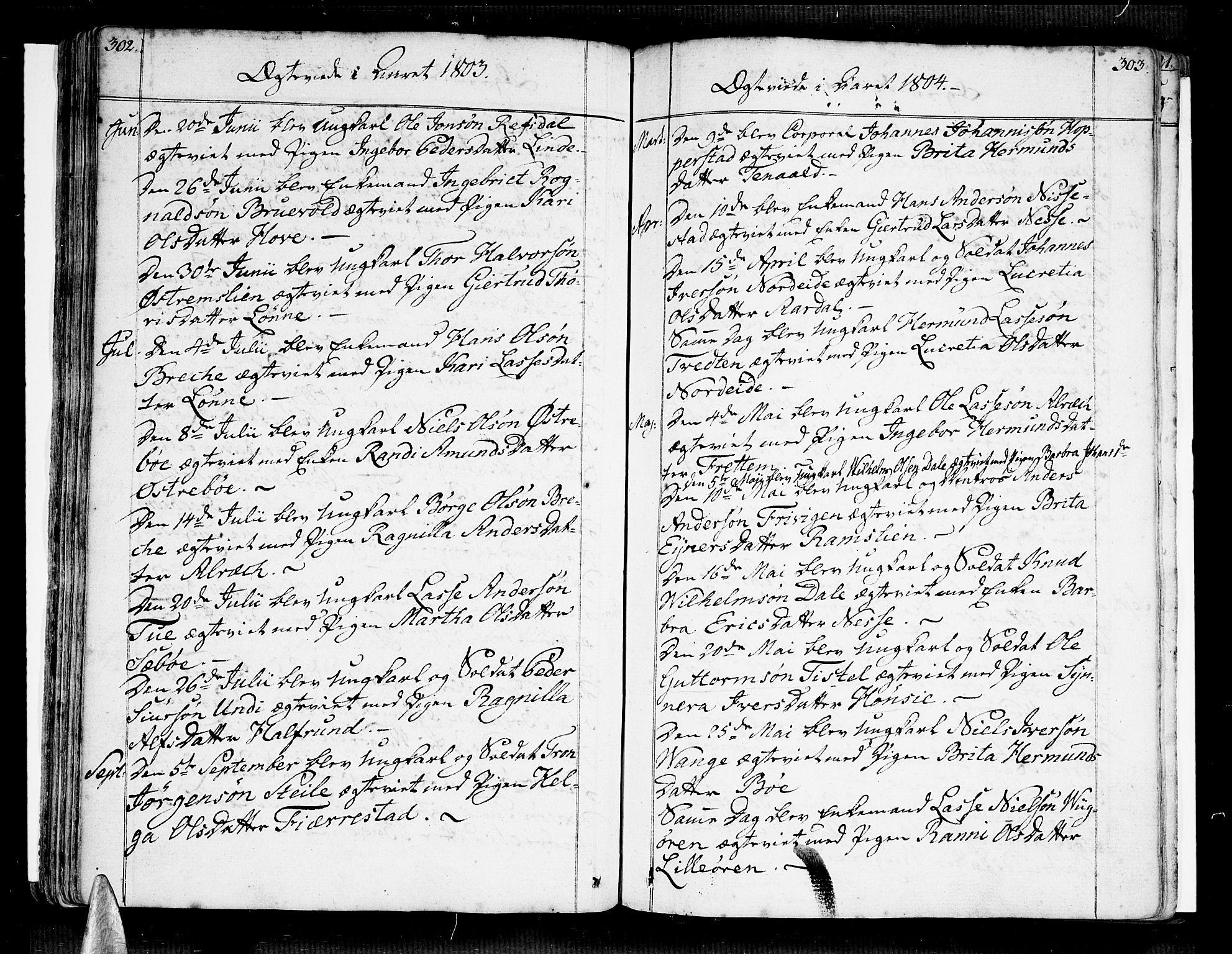 SAB, Vik Sokneprestembete, Ministerialbok nr. A 5, 1787-1820, s. 302-303