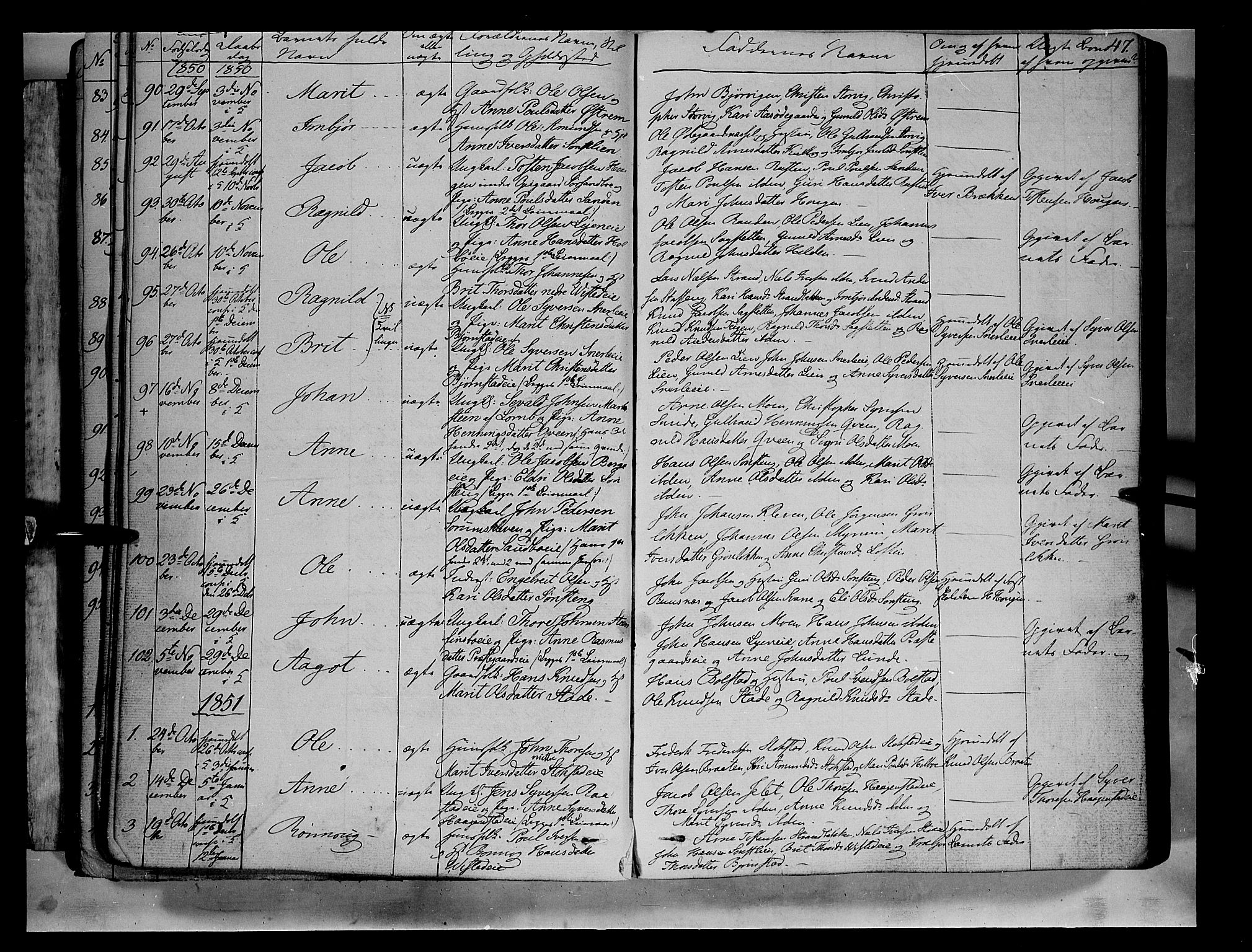 SAH, Vågå prestekontor, Ministerialbok nr. 5 /1, 1842-1856, s. 47