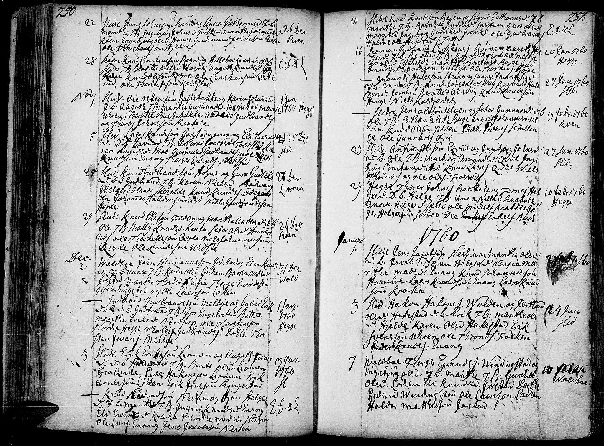 SAH, Slidre prestekontor, Ministerialbok nr. 1, 1724-1814, s. 250-251