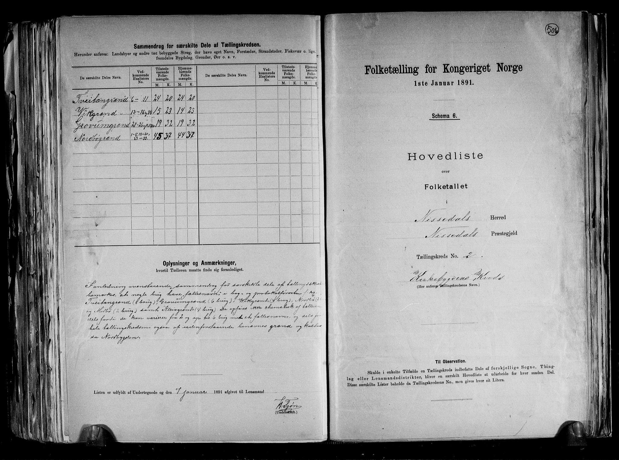 RA, Folketelling 1891 for 0830 Nissedal herred, 1891, s. 7