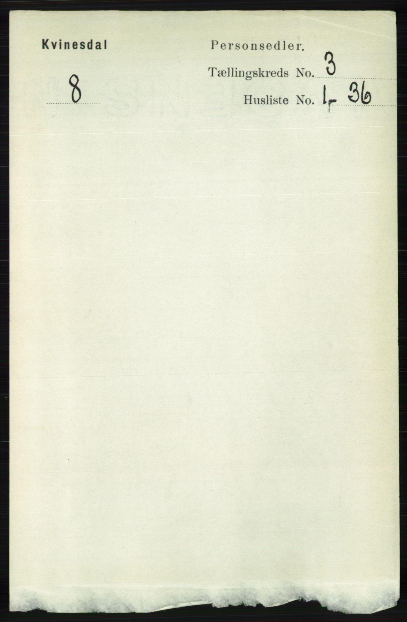 RA, Folketelling 1891 for 1037 Kvinesdal herred, 1891, s. 1024
