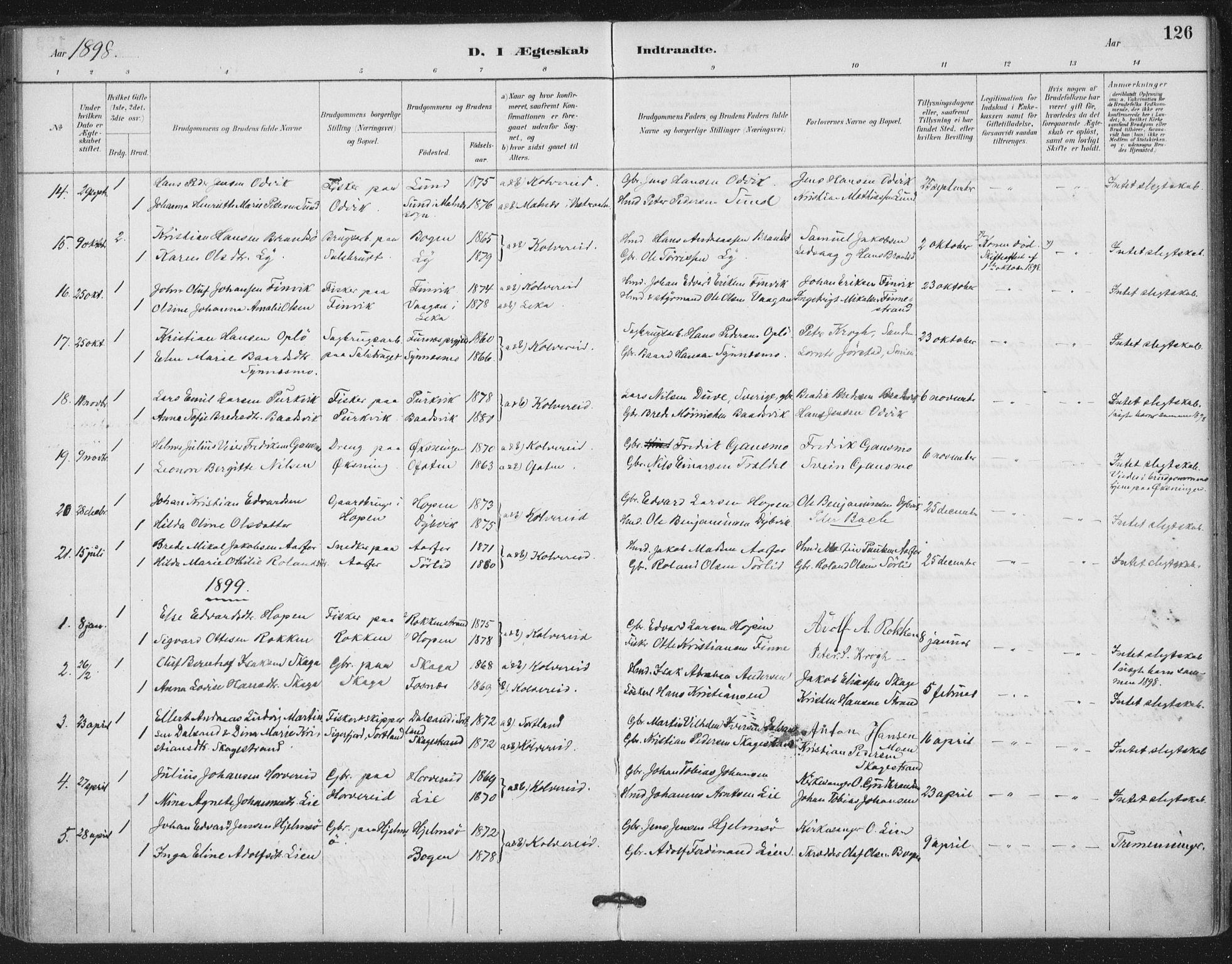 SAT, Ministerialprotokoller, klokkerbøker og fødselsregistre - Nord-Trøndelag, 780/L0644: Ministerialbok nr. 780A08, 1886-1903, s. 126