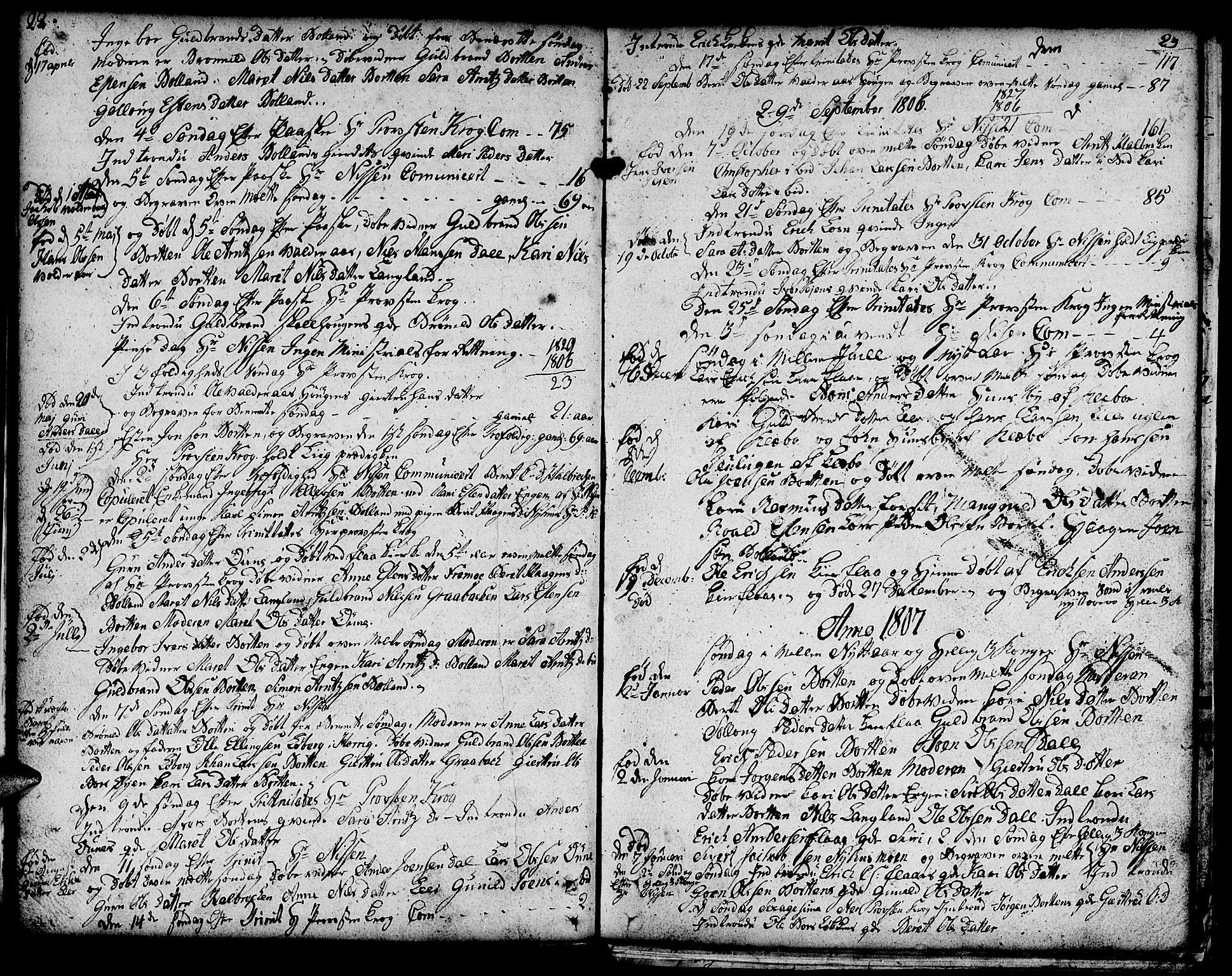 SAT, Ministerialprotokoller, klokkerbøker og fødselsregistre - Sør-Trøndelag, 693/L1120: Klokkerbok nr. 693C01, 1799-1816, s. 22-23