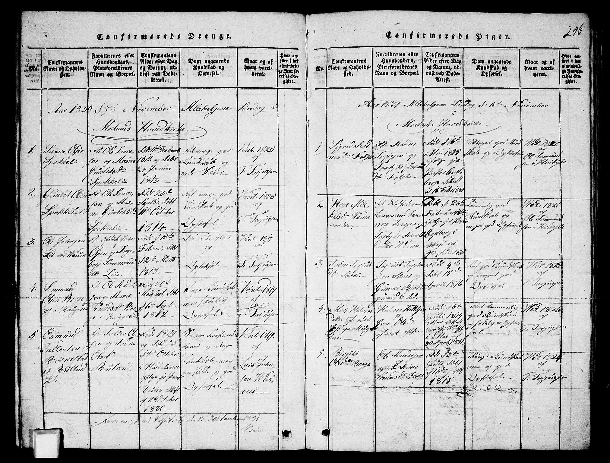 SAKO, Fyresdal kirkebøker, G/Ga/L0003: Klokkerbok nr. I 3, 1815-1863, s. 246