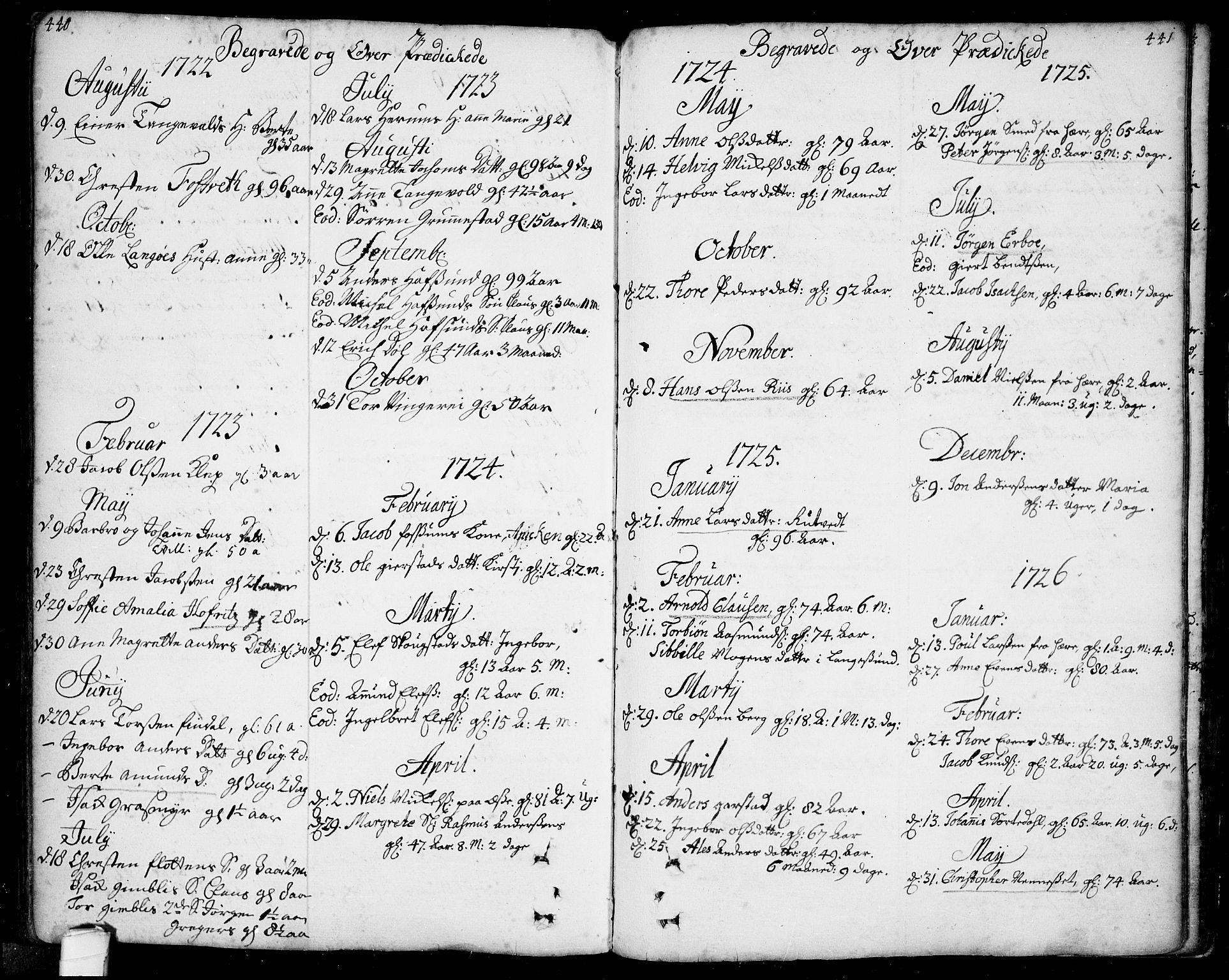 SAKO, Bamble kirkebøker, F/Fa/L0001: Ministerialbok nr. I 1, 1702-1774, s. 440-441