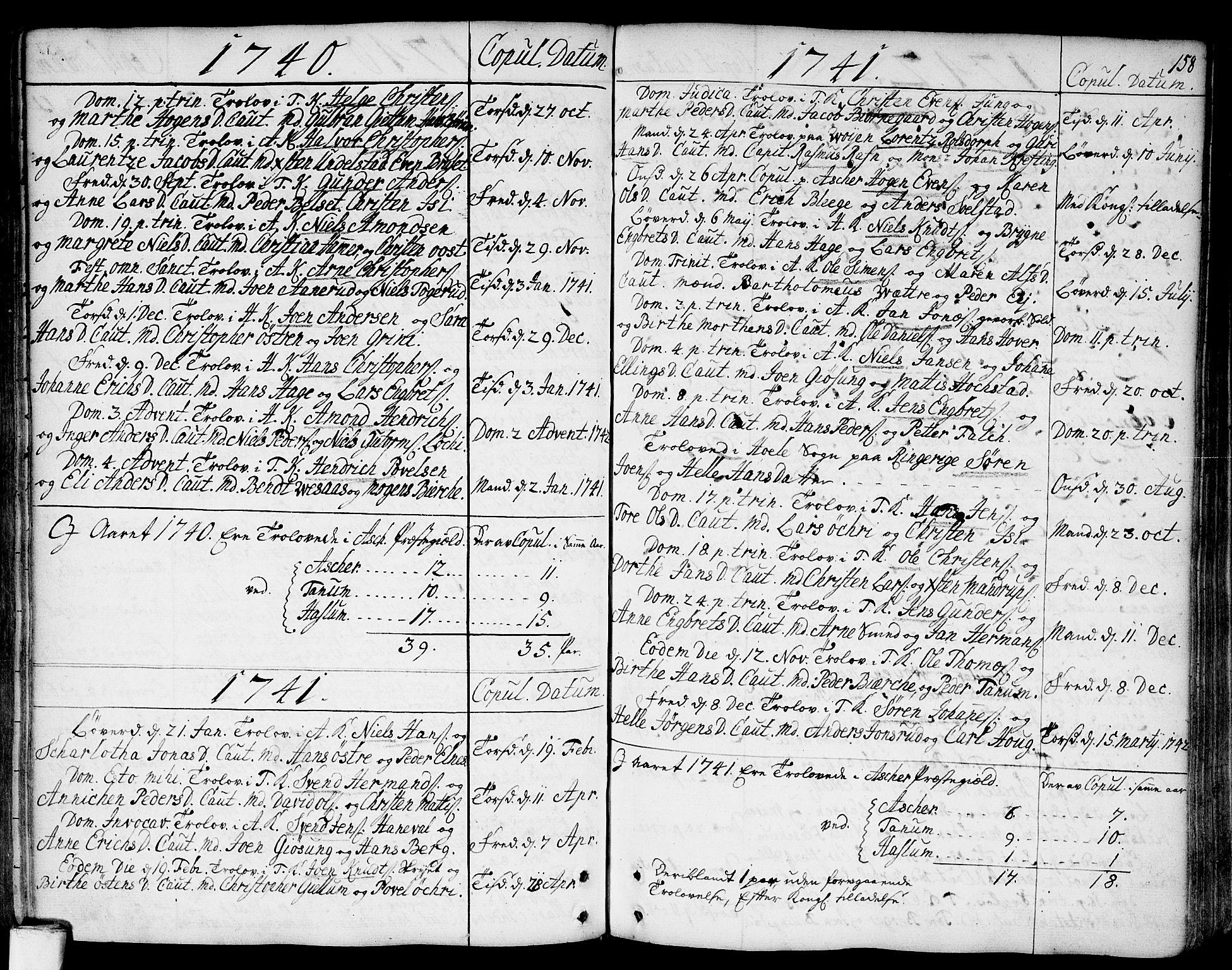 SAO, Asker prestekontor Kirkebøker, F/Fa/L0002: Ministerialbok nr. I 2, 1733-1766, s. 158