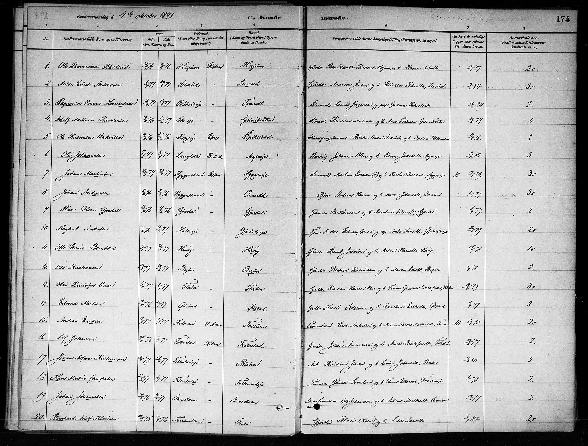 SAKO, Røyken kirkebøker, F/Fa/L0008: Ministerialbok nr. 8, 1880-1897, s. 174