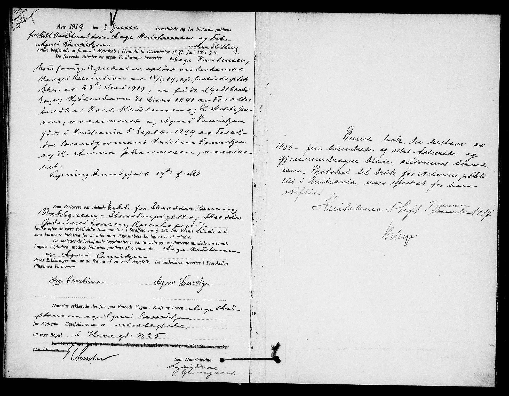 SAO, Oslo byfogd avd. I, L/Lb/Lbb/L0012: Notarialprotokoll, rekke II: Vigsler, 1918-1919, s. 406b-407a