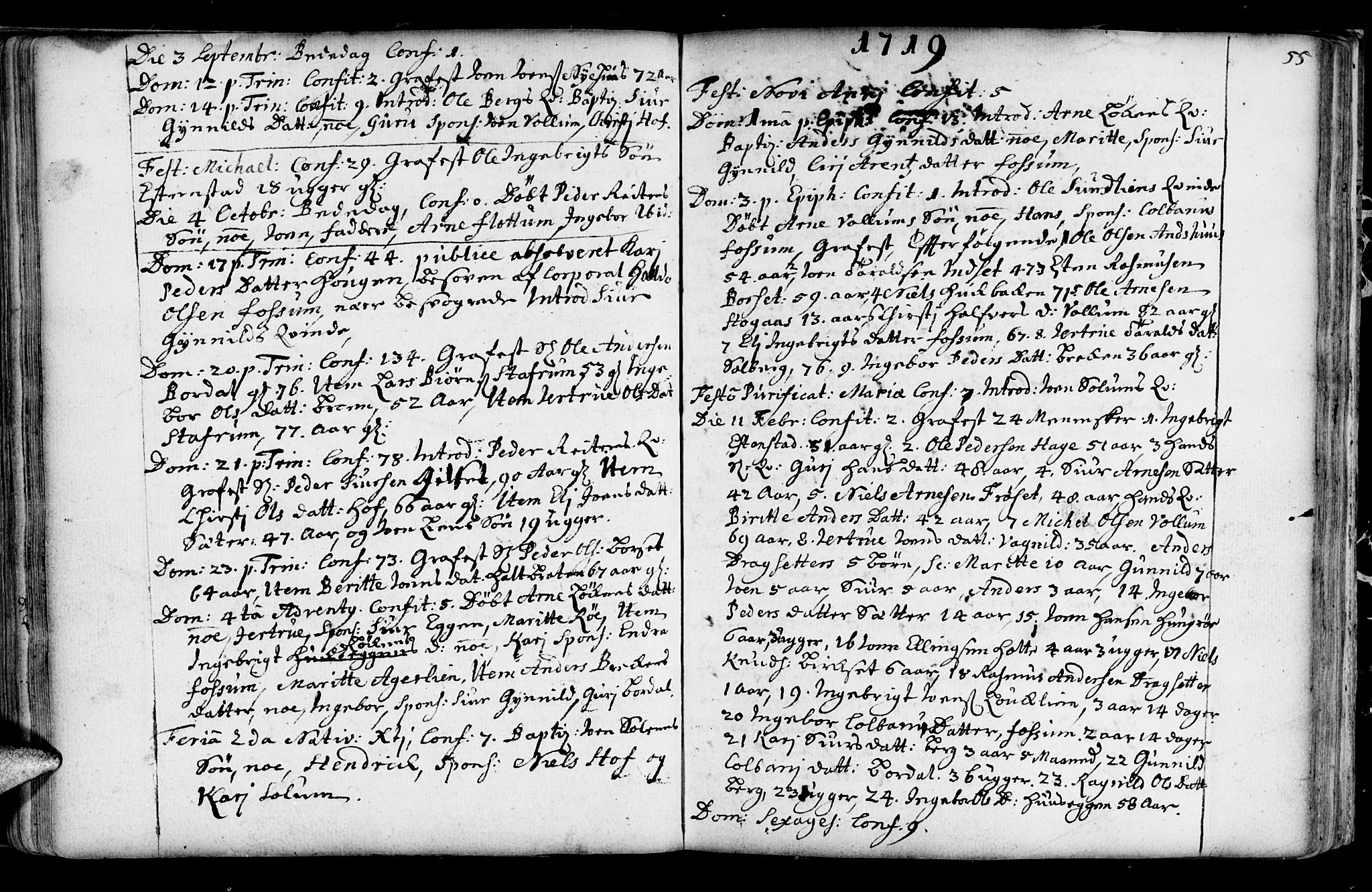 SAT, Ministerialprotokoller, klokkerbøker og fødselsregistre - Sør-Trøndelag, 689/L1036: Ministerialbok nr. 689A01, 1696-1746, s. 55