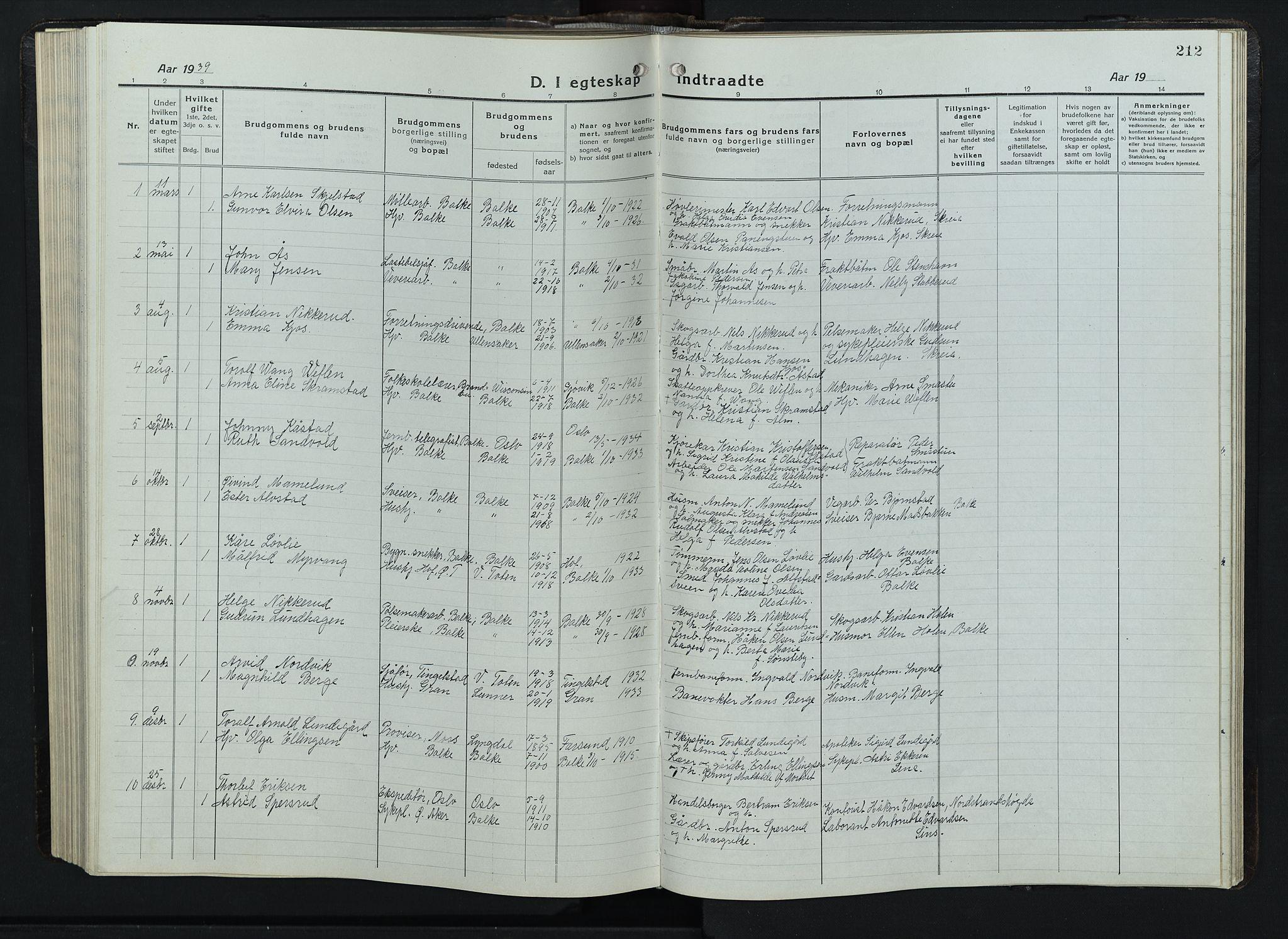 SAH, Balke prestekontor, Klokkerbok nr. 1, 1920-1955, s. 212